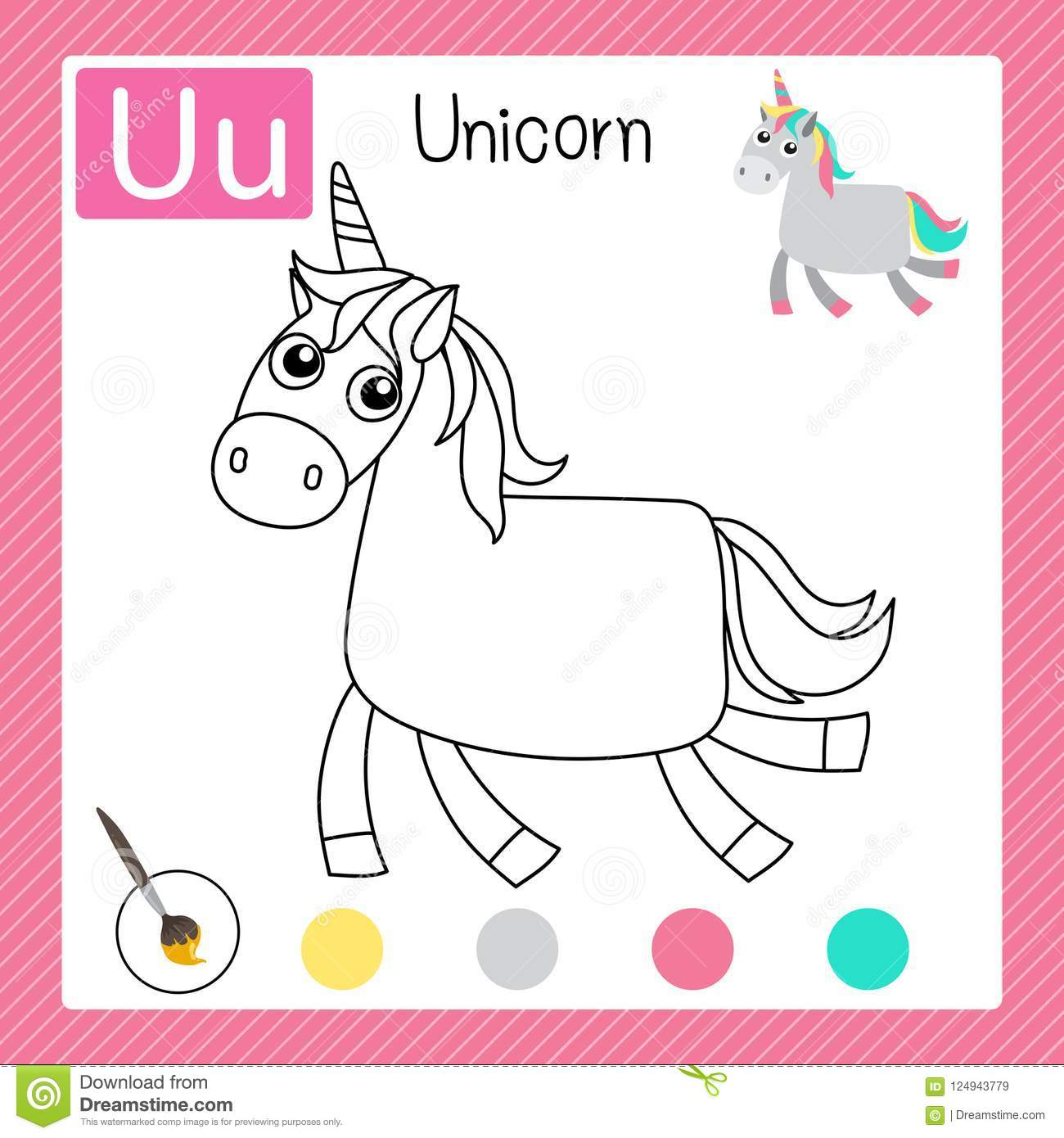 Baby Unicorn Coloring Page Royalty Free Stock Image
