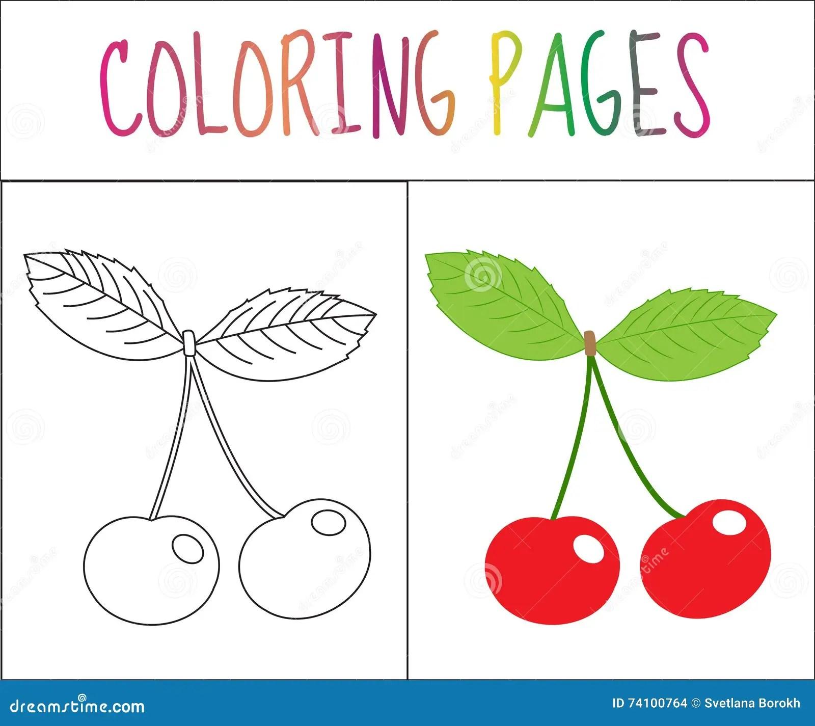 Page De Livre De Coloriage Cerise Version De Croquis Et De
