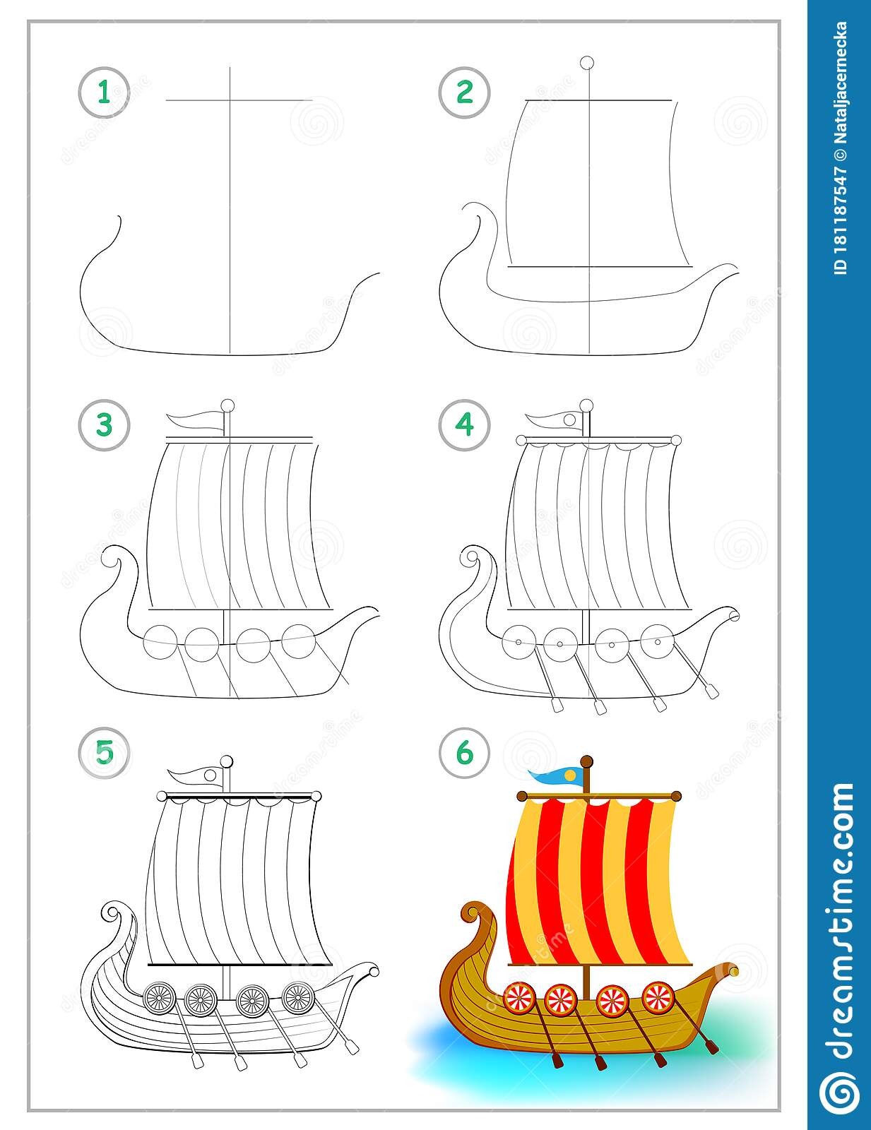 Page Shows How To Draw Step By Step Toy Viking Ancient