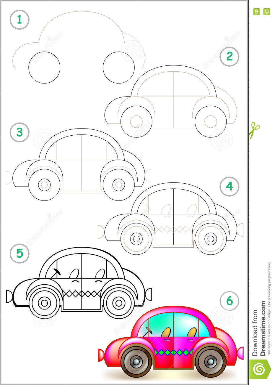 Page Shows How To Learn Step By Step To Draw Car. Stock ...