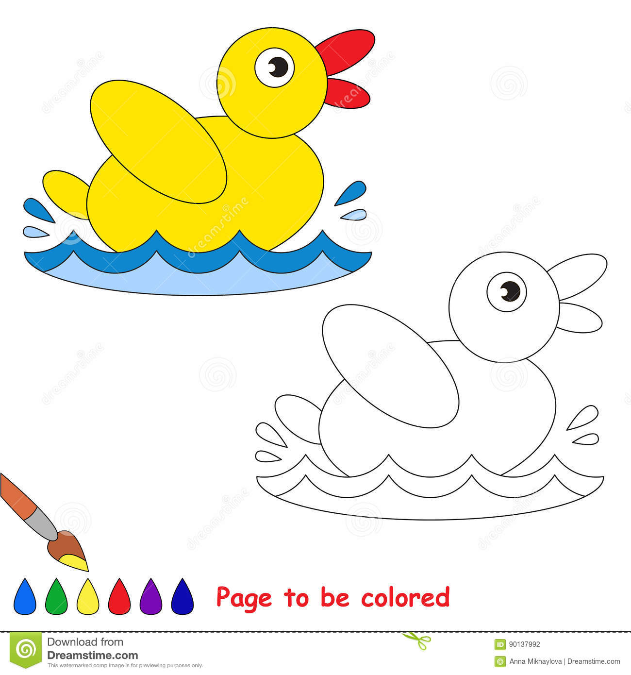 Page To Be Colored Simple Education Game For Kids Vector