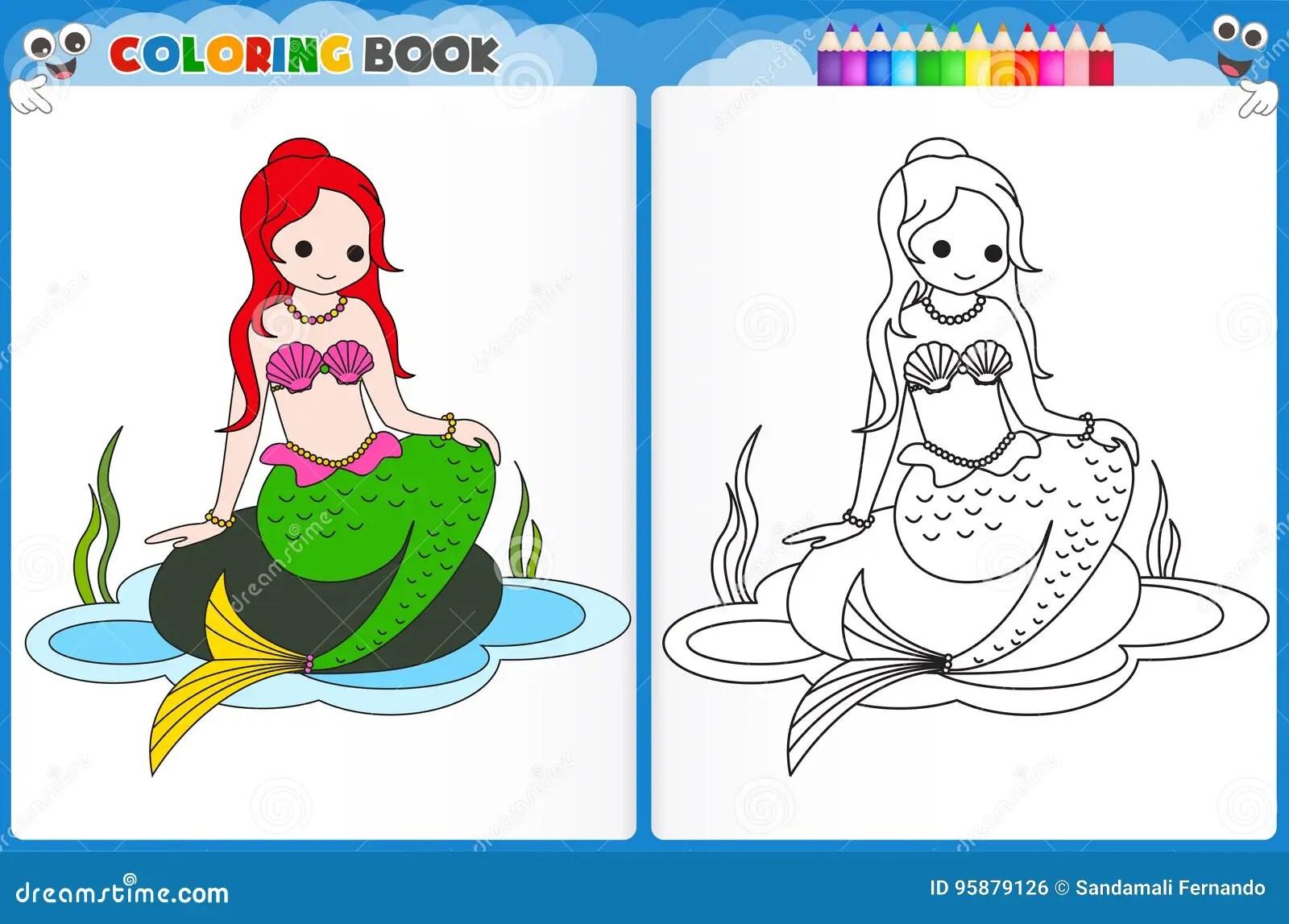 Pagina Di Coloritura Della Sirena Illustrazione Di Stock