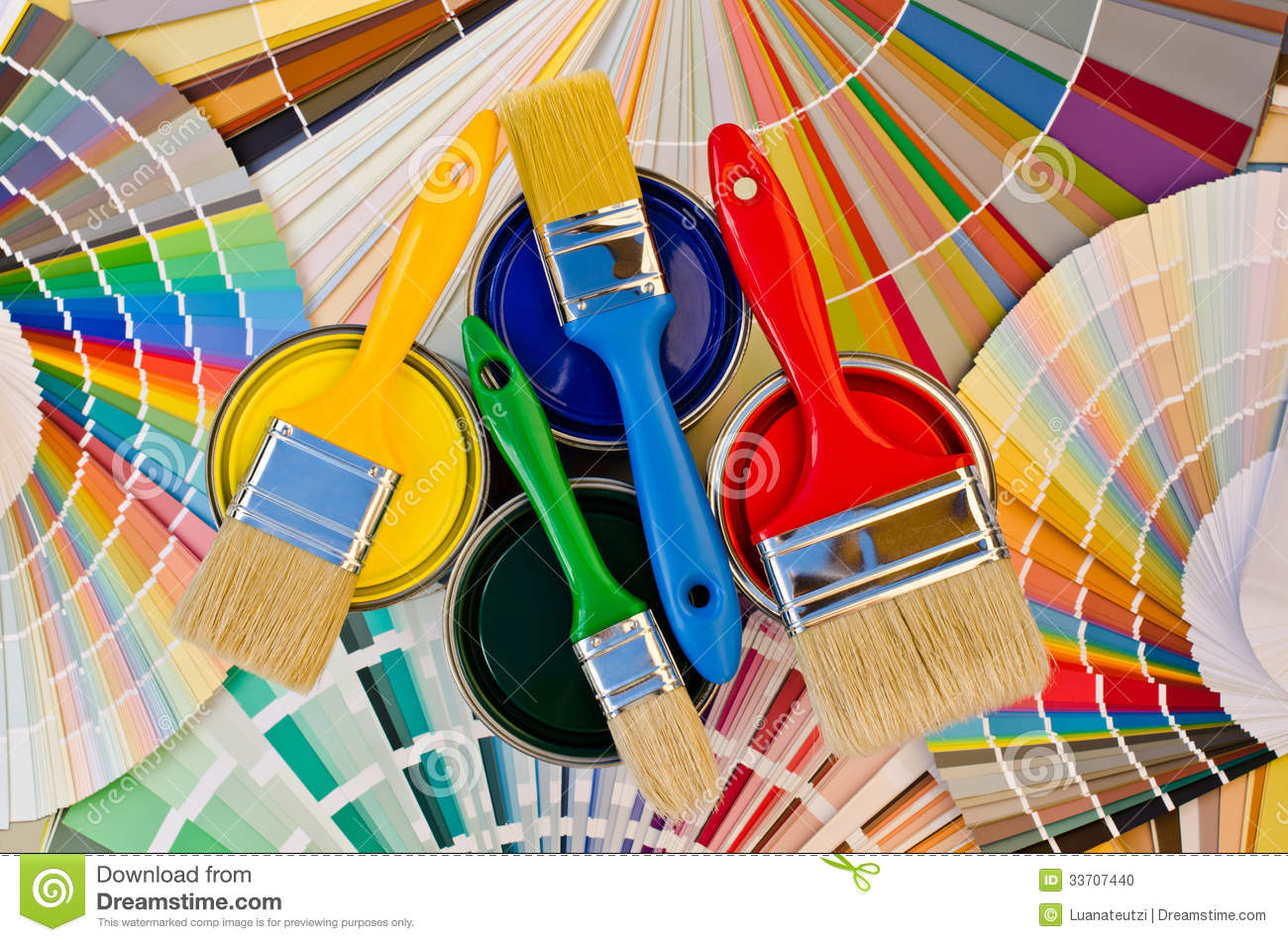 Paint Cans And Brushes On Color Stripes Of Sample Stock
