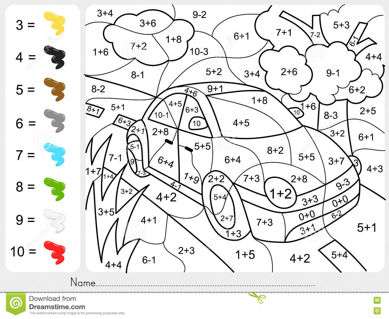 Adding Subtraction Color By Numbers Worksheet