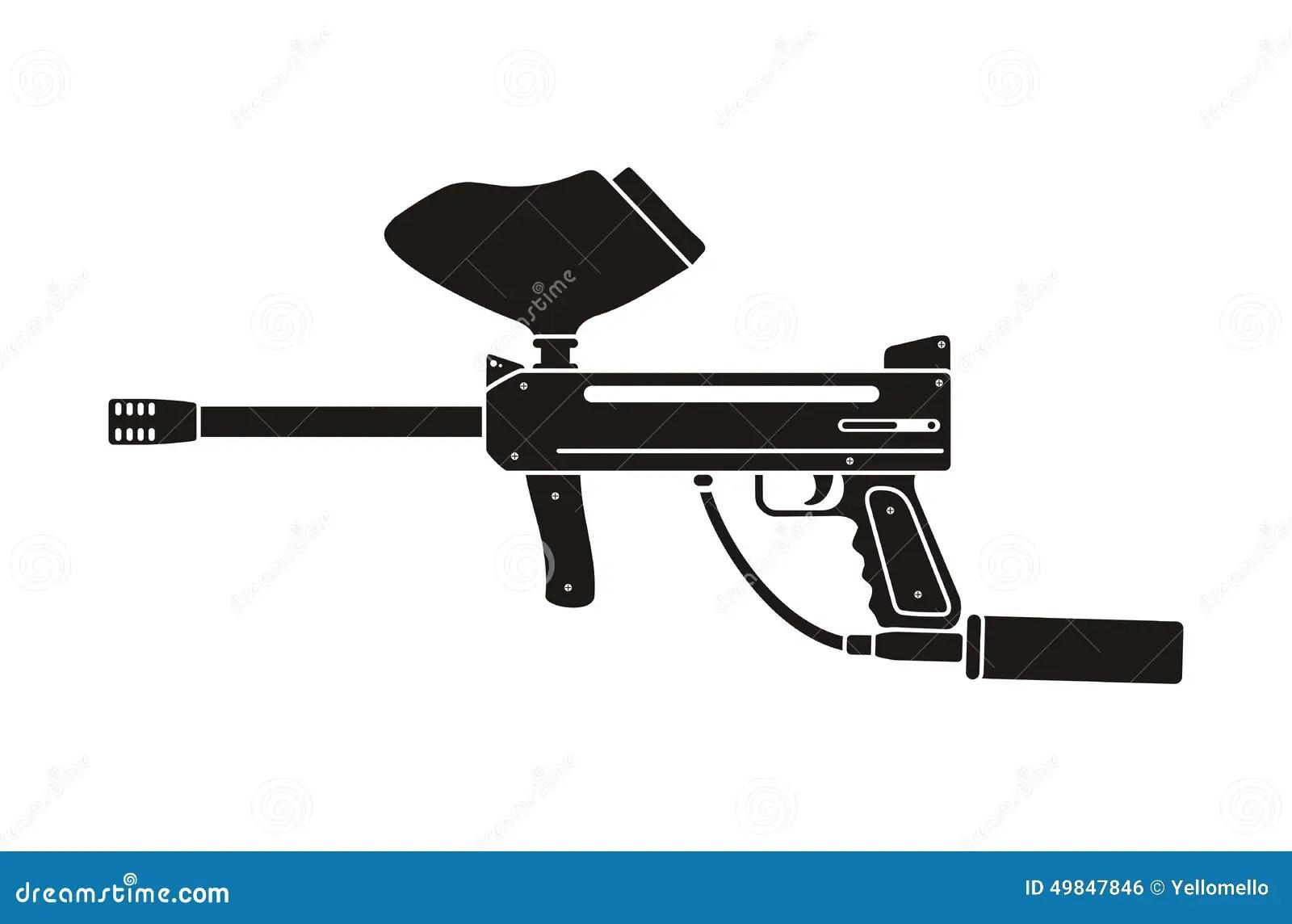 Paintball Gun Silhouette Stock Vector