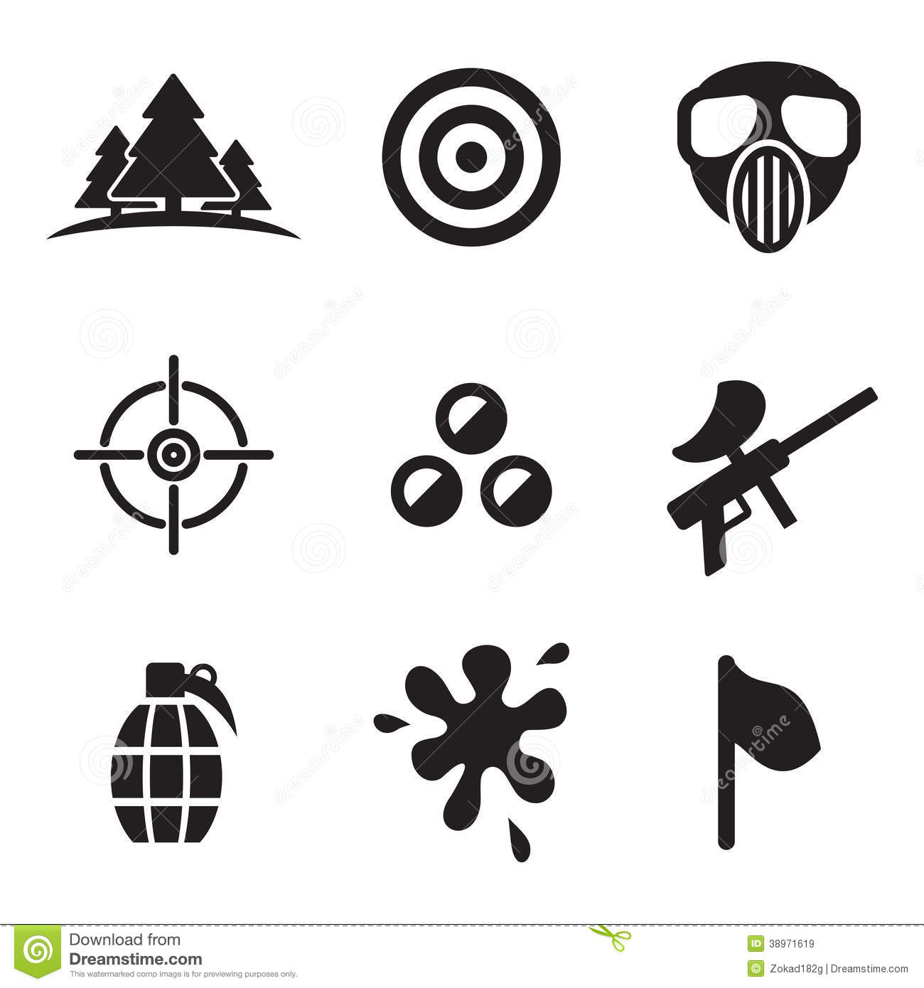 Paintball Icons Stock Vector Illustration Of Army Hand