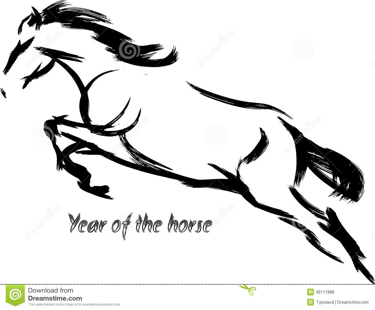 Painting Of Horse Jumping Year Of The Horse Royalty Free