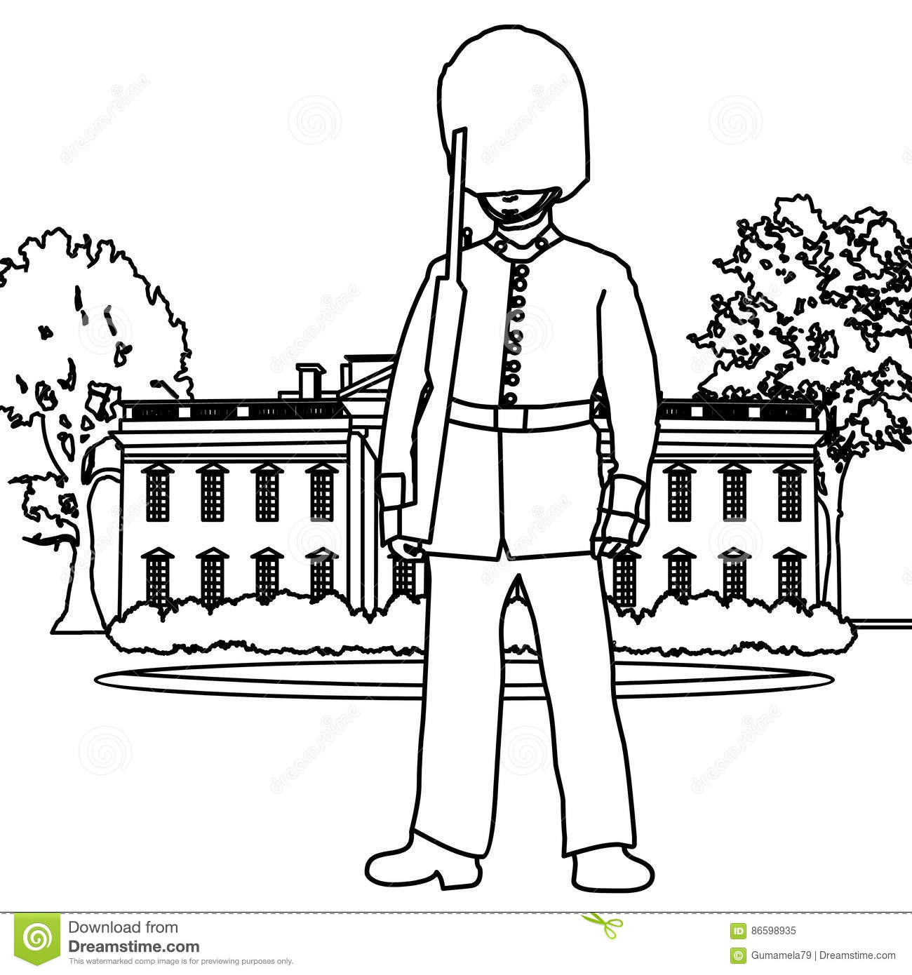 Palace Guard Coloring Page Stock Illustration