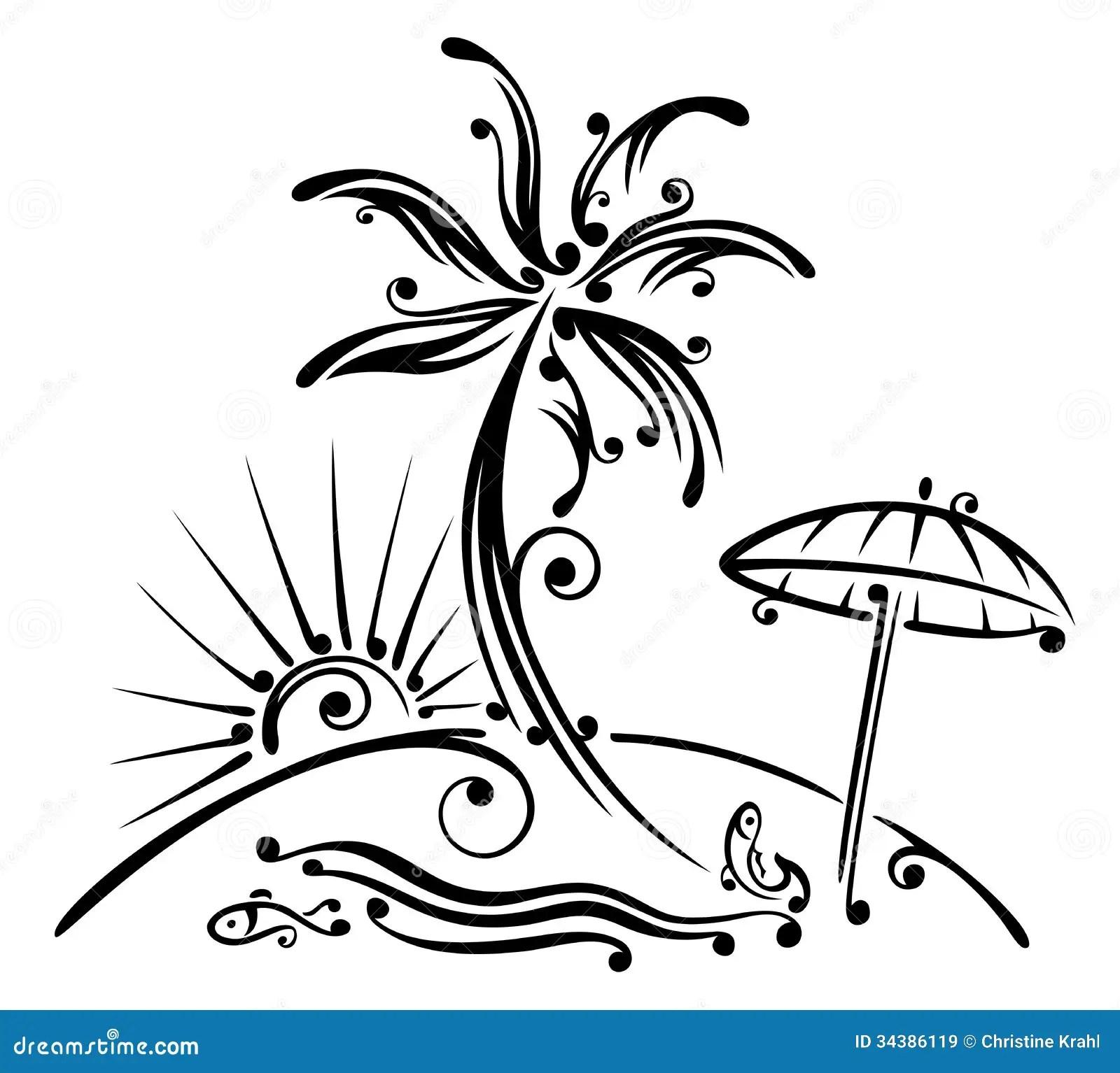 Palme Strand Meer Vektor Abbildung Illustration Von