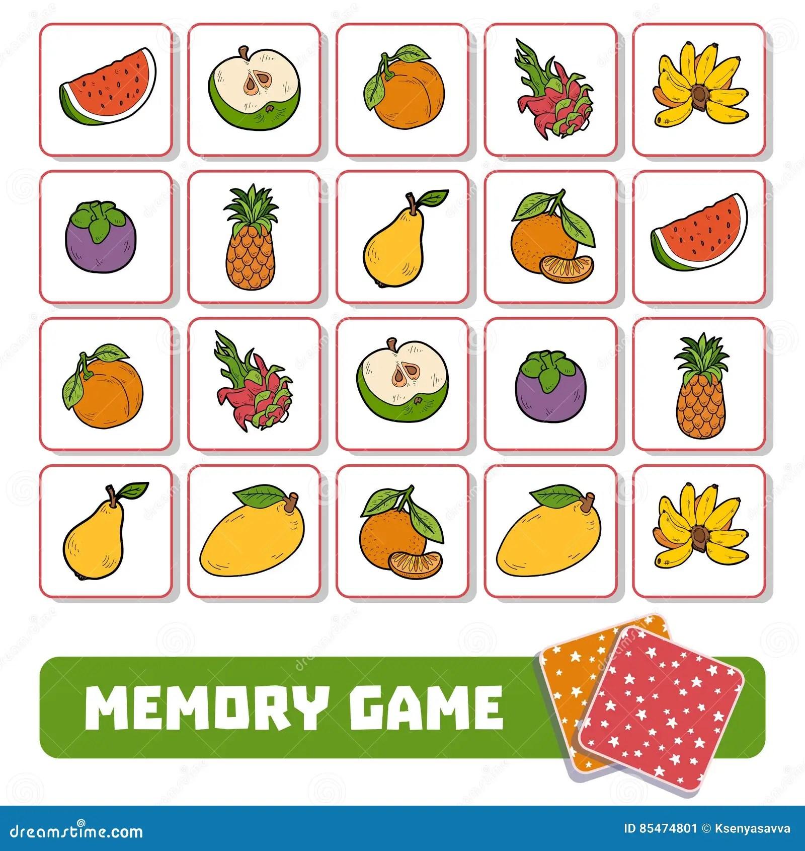 Pami Ci Gra Dla Dzieci Karty Z Owoc Ilustracja Wektor