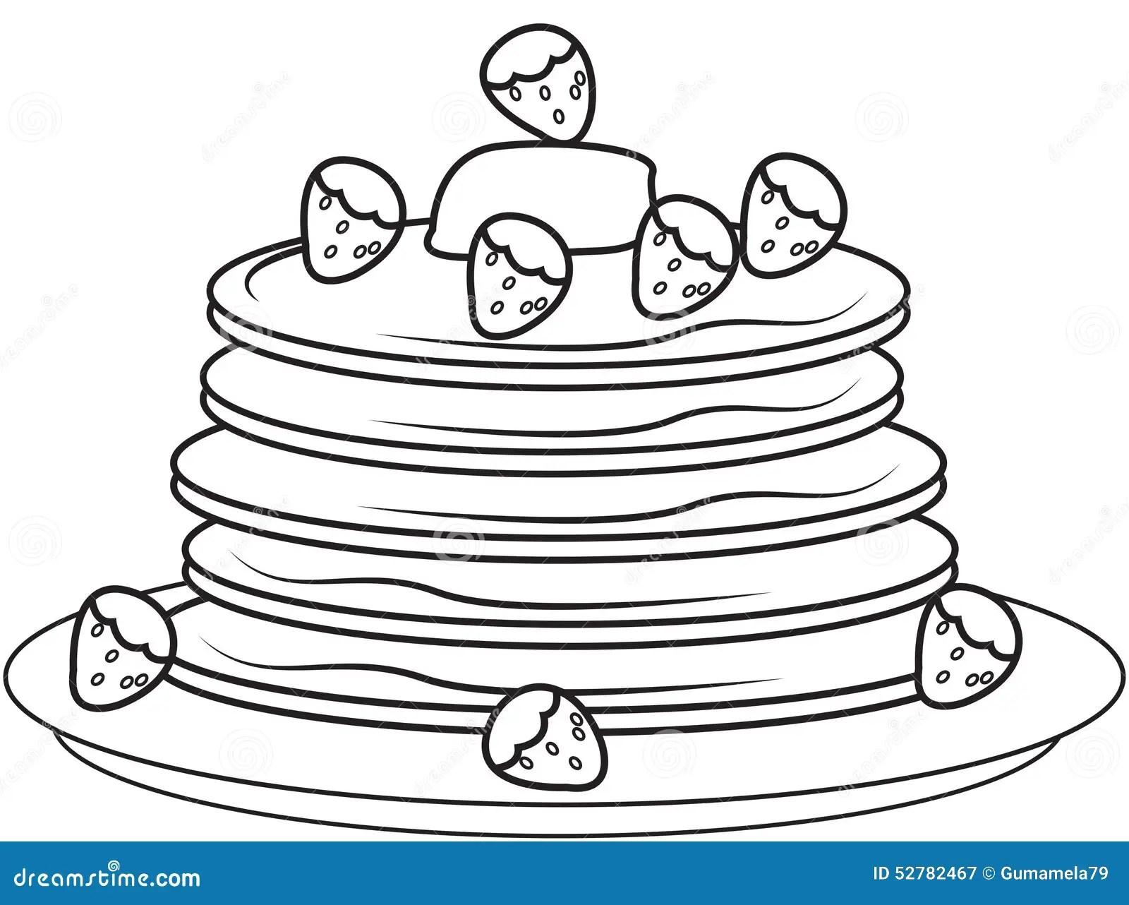 Pancake Con Le Fragole Che Colorano Pagina Illustrazione