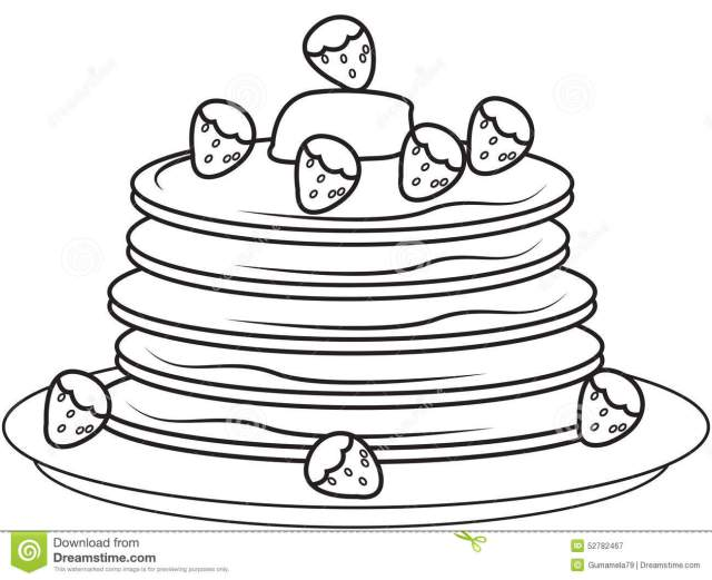 Pancakes With Strawberries Coloring Page Stock Illustration