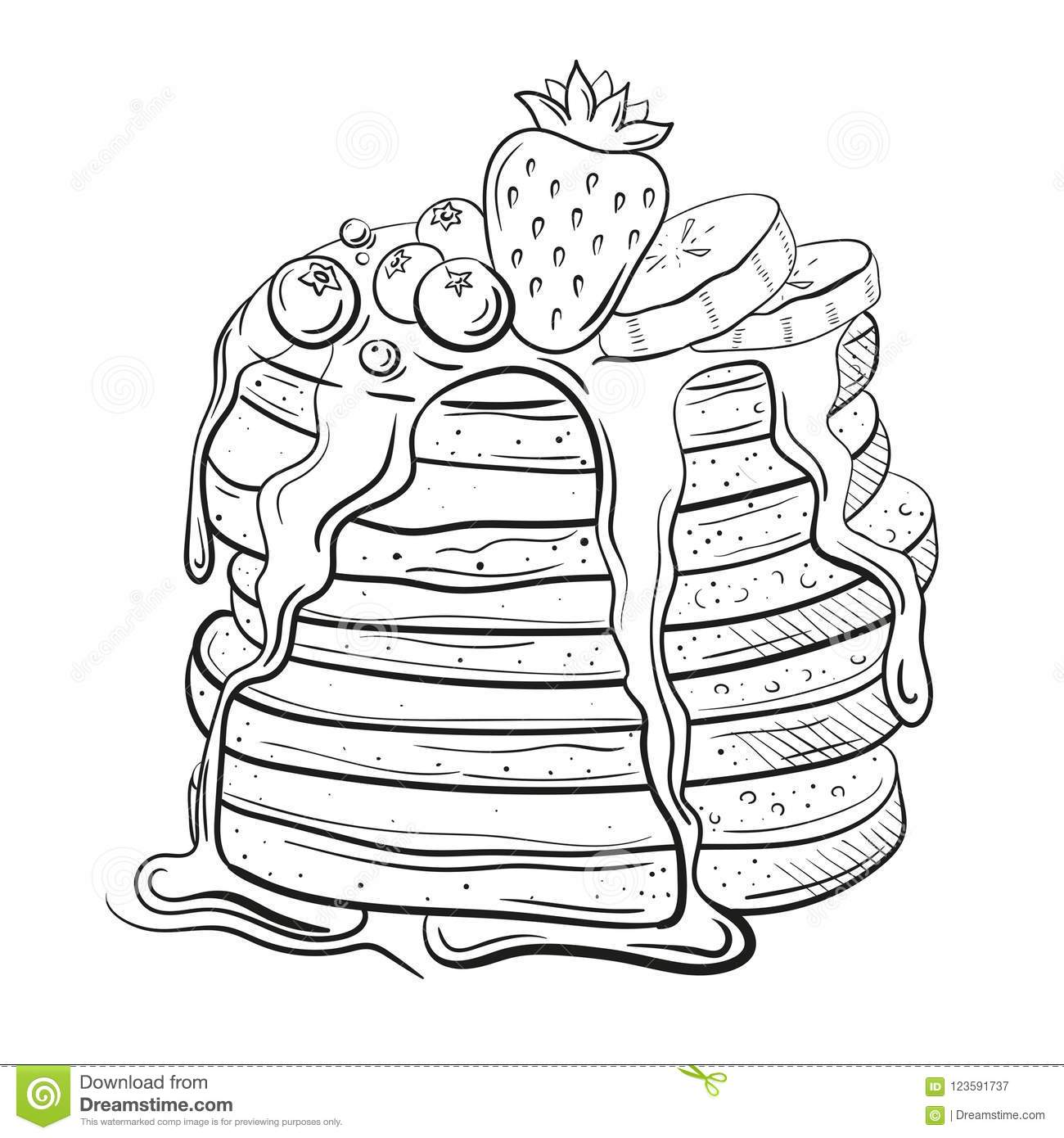 Pancakes With Butter On White Cartoon Vector