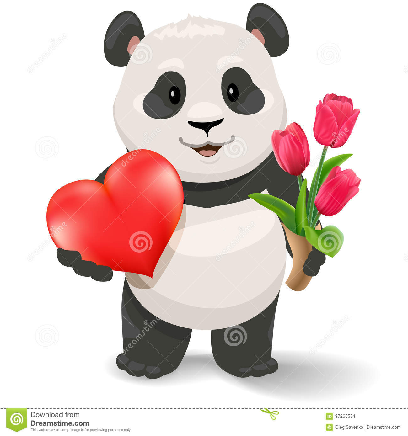 Panda Holding Heart And Tulips Valentine S Day Vector