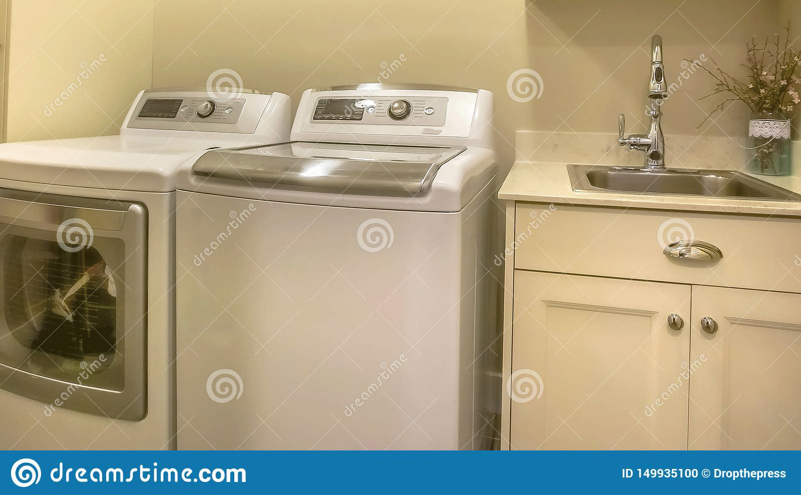 https www dreamstime com panorama frame washing machine dryer inside laundry room house has built cabinets clothes hanger rod shiny faucet image149935100
