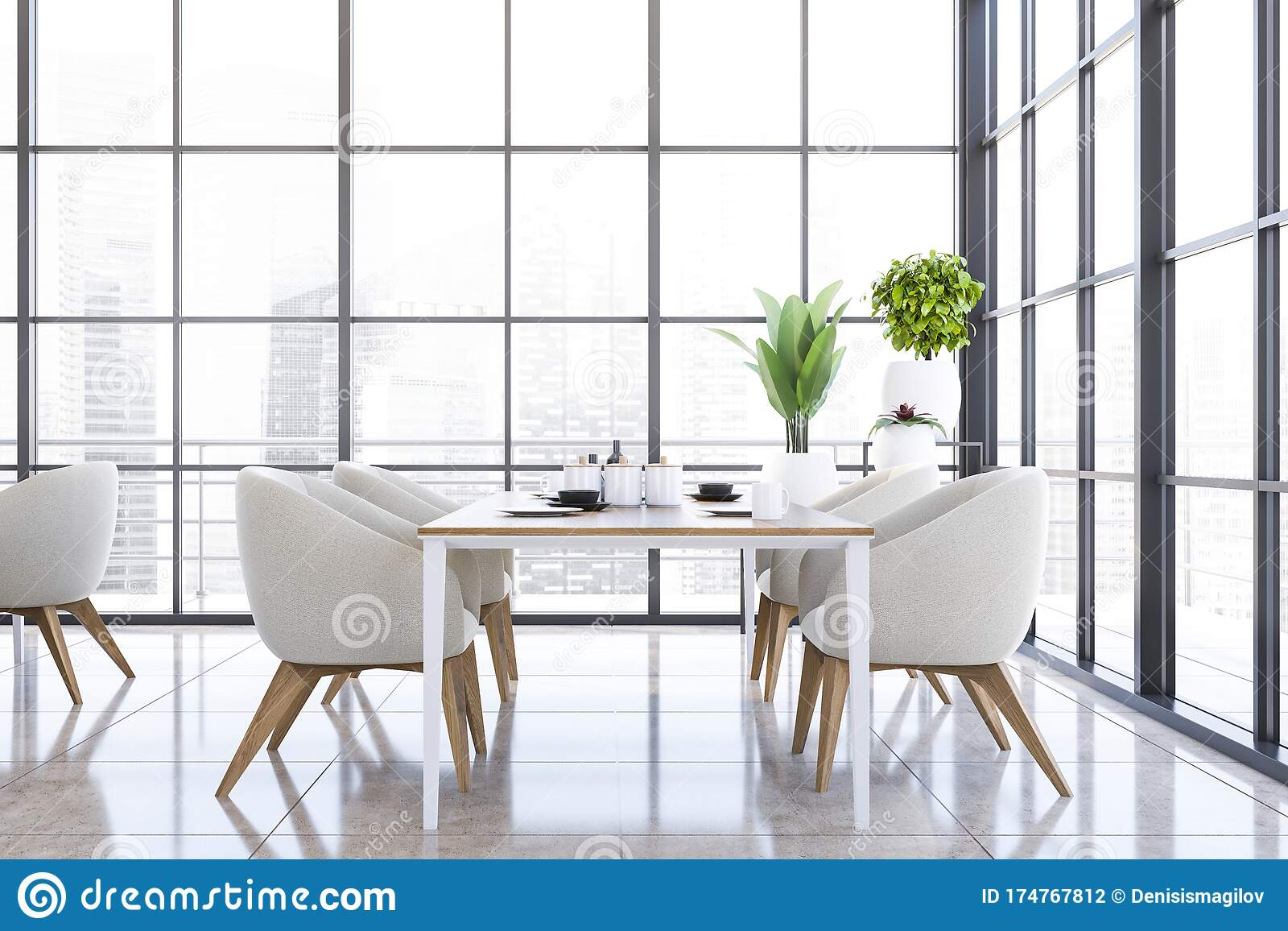 Panoramic White Armchairs Dining Room Interior Stock Illustration Illustration Of Lamp Luxury 174767812