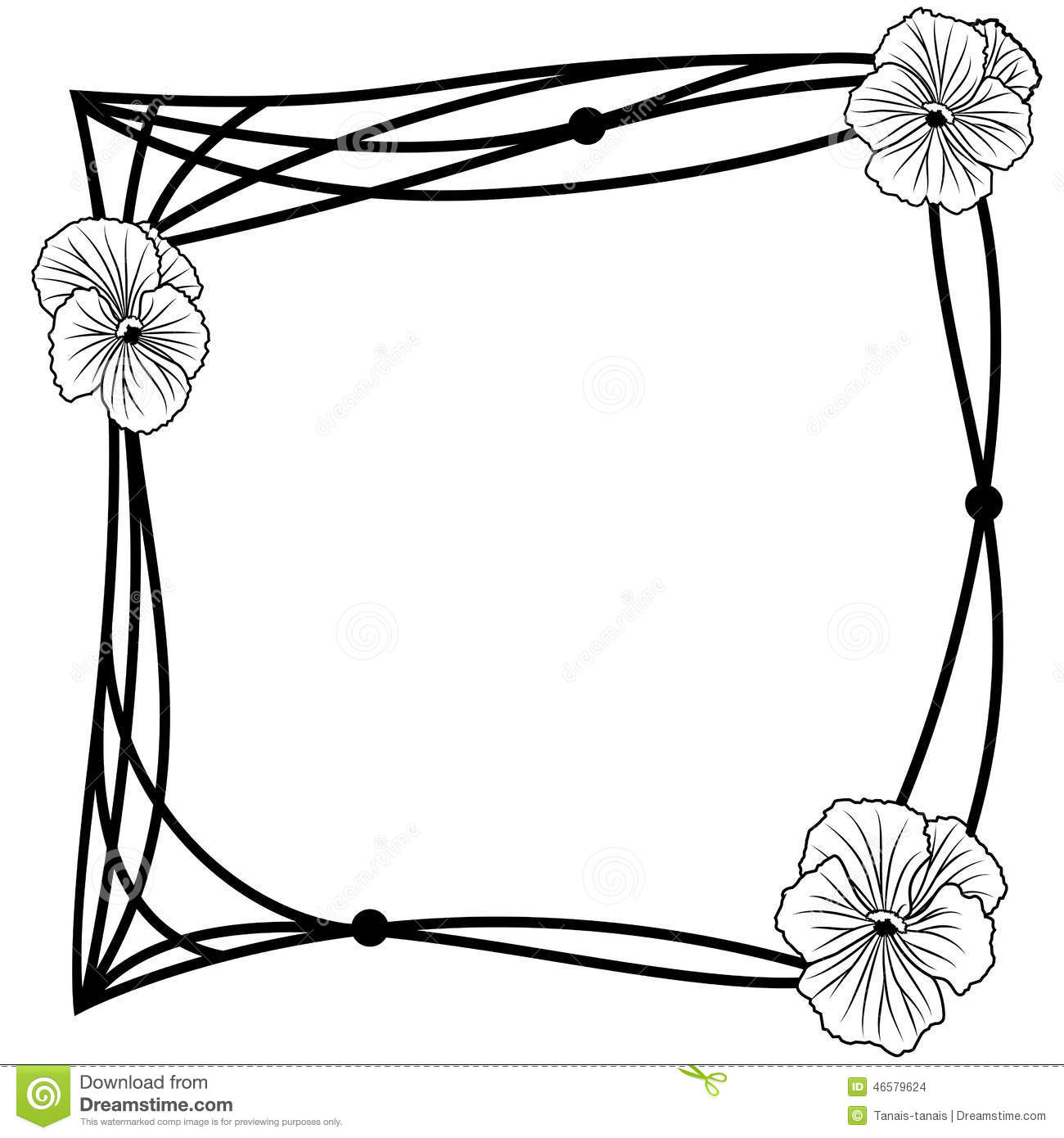 Pansy Frame Stock Vector