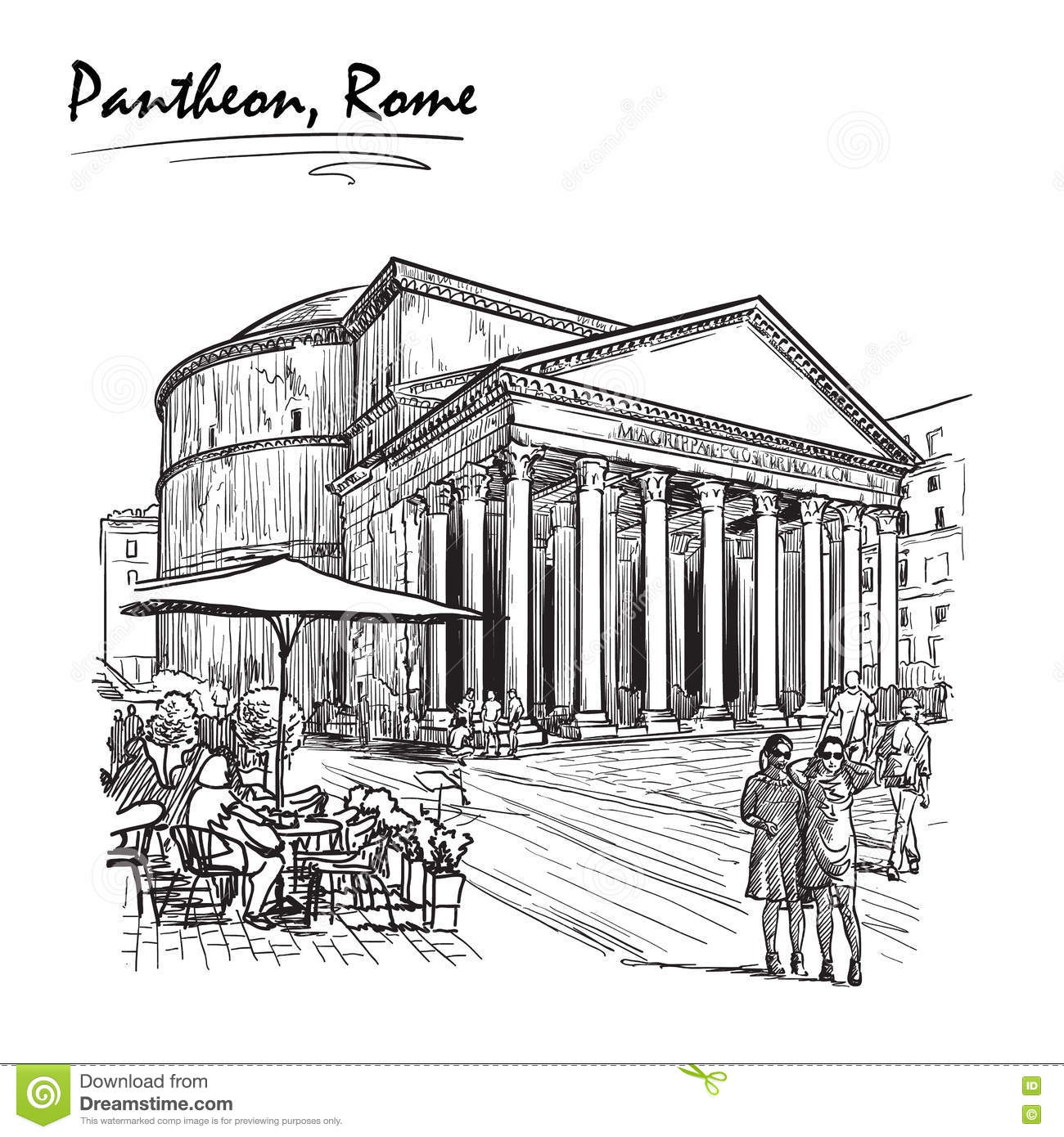 Pantheon Sketch On A White Bg Stock Vector