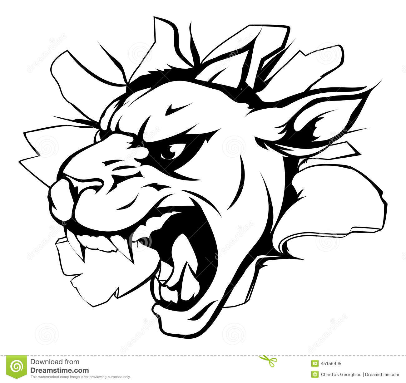 Panther Mascot Breaking Through Wall Stock Vector