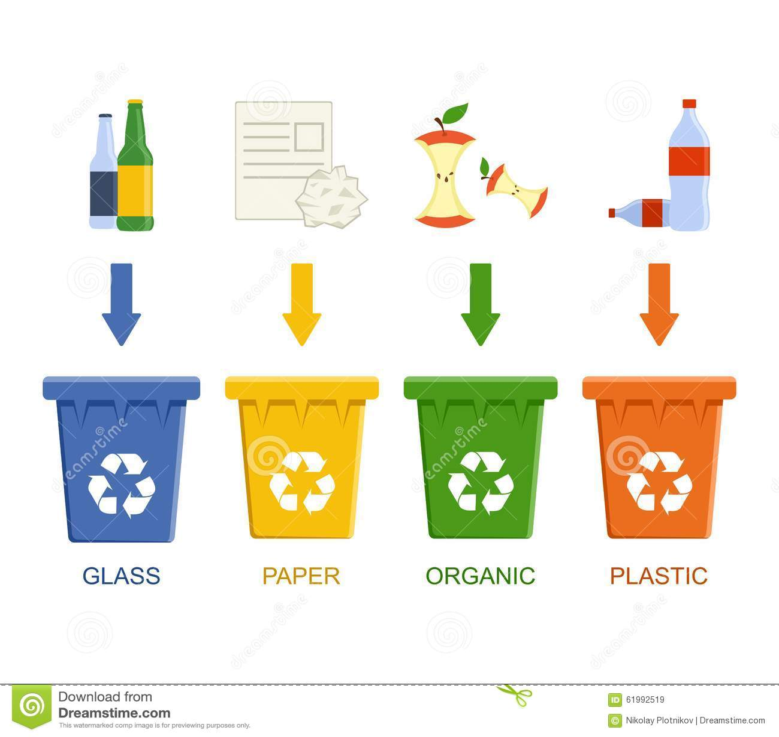 Papeleras De Reciclaje De La Separacion Concepto Inutil De