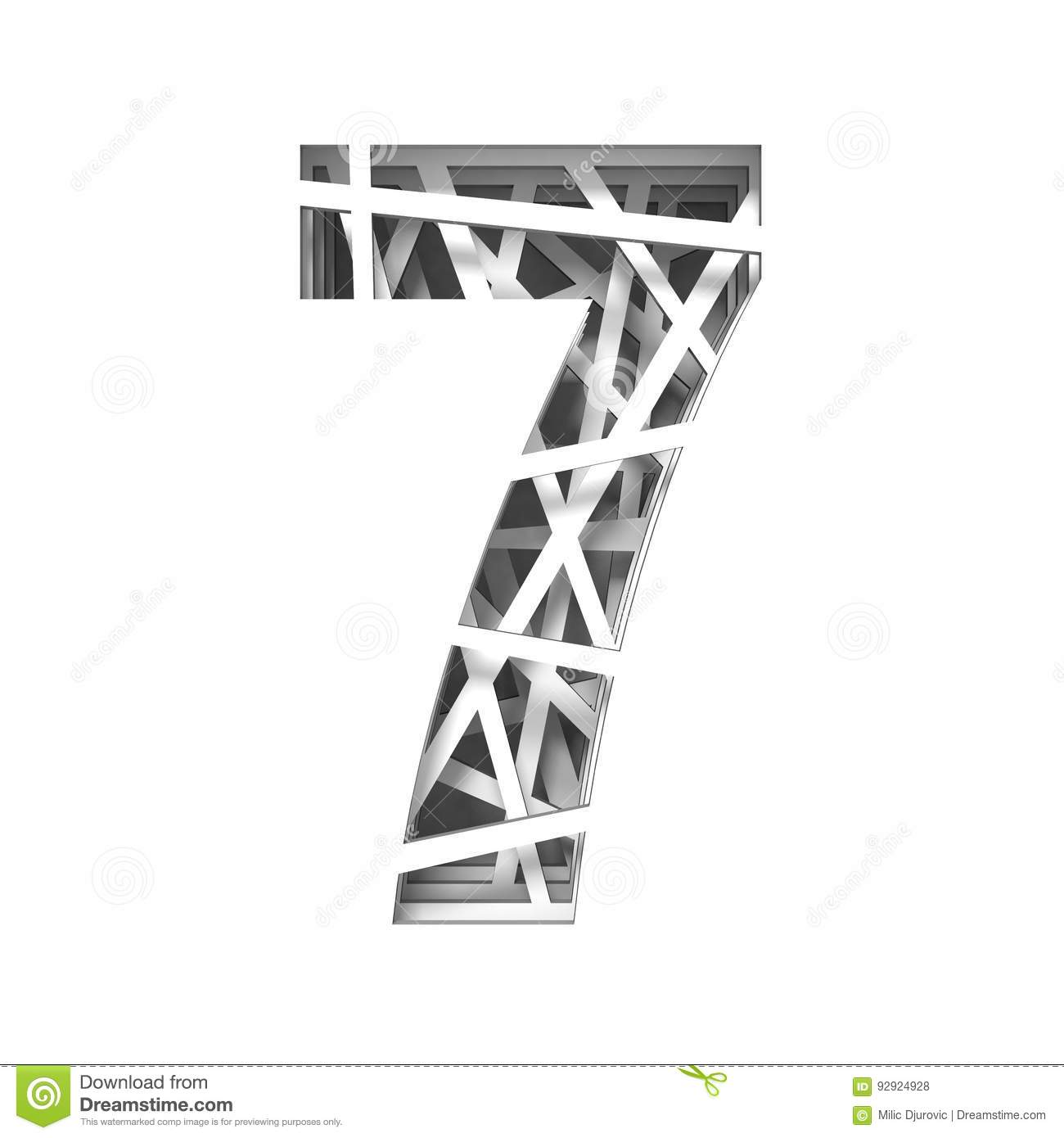 Paper Cut Out Font Number Seven 7 3d Stock Illustration