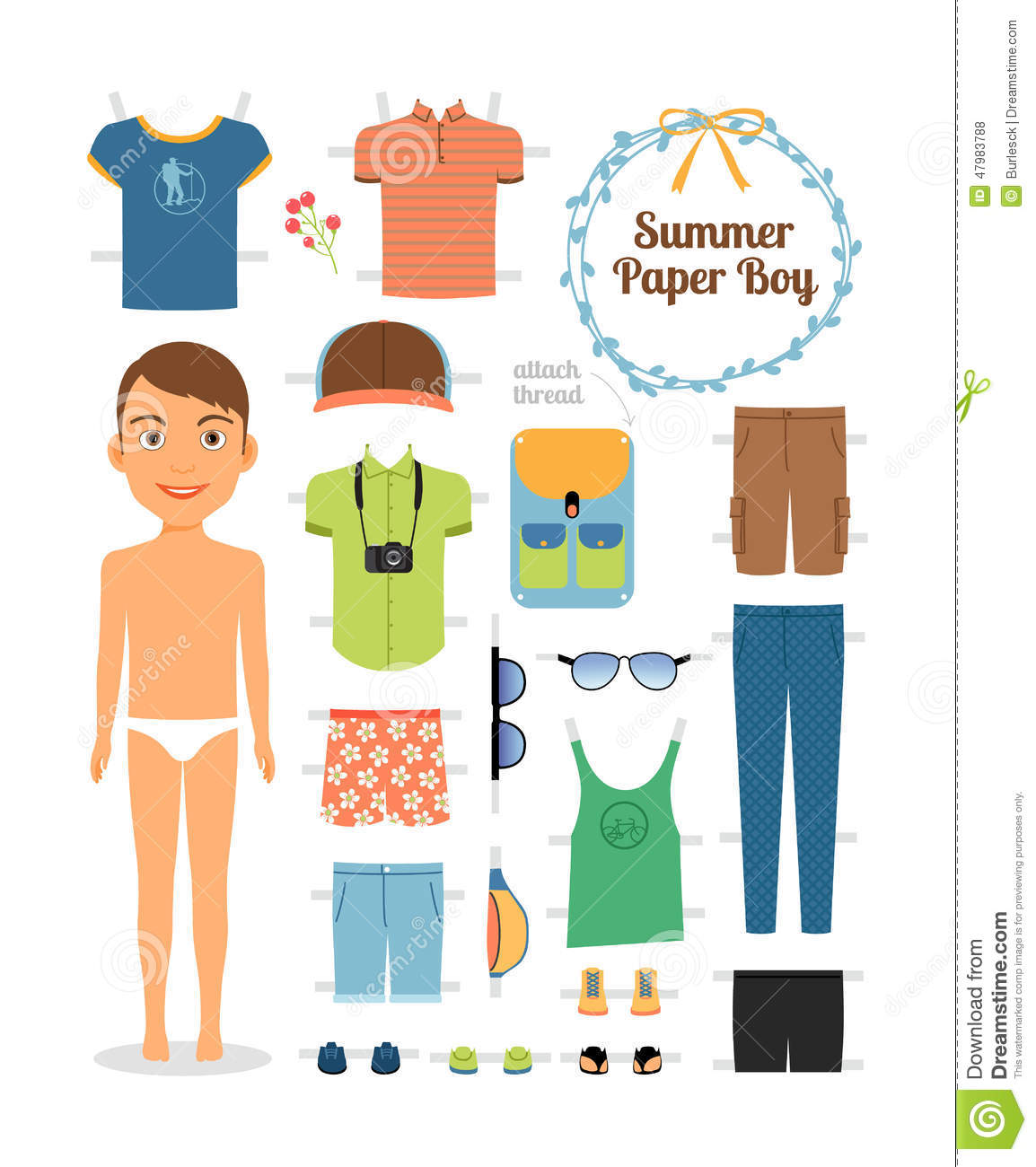 Paper Doll Boy In Summer Clothes And Shoes Stock Vector