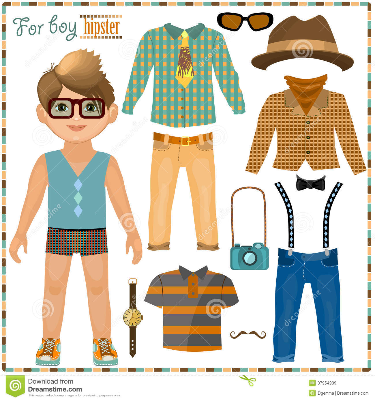 Paper Doll With A Set Of Clothes Cute Hipster Boy Stock