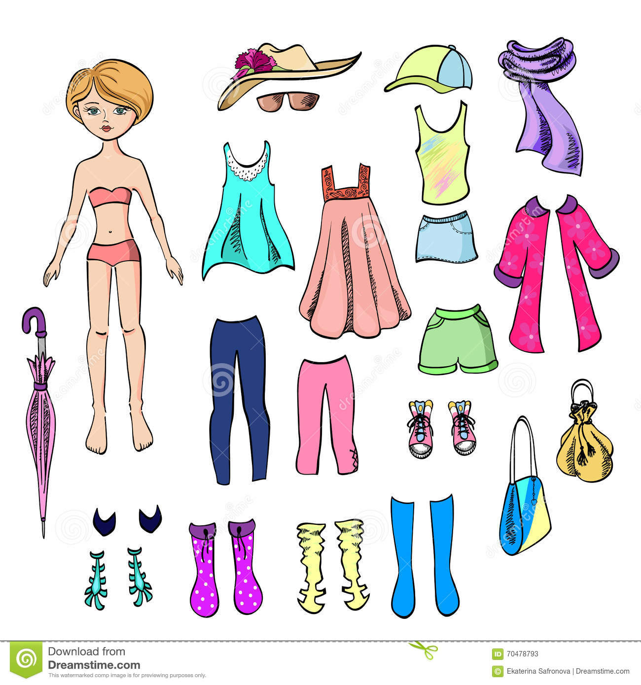Paper Doll And A Set Clothes For Her Stock Vector