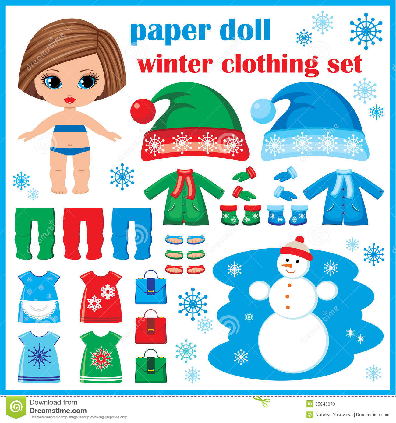 Paper Doll With Winter Clothes Set Stock Vector