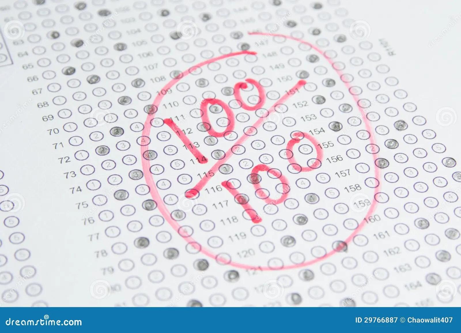 Exam Test 100 Score Stock Image Image Of Childhood