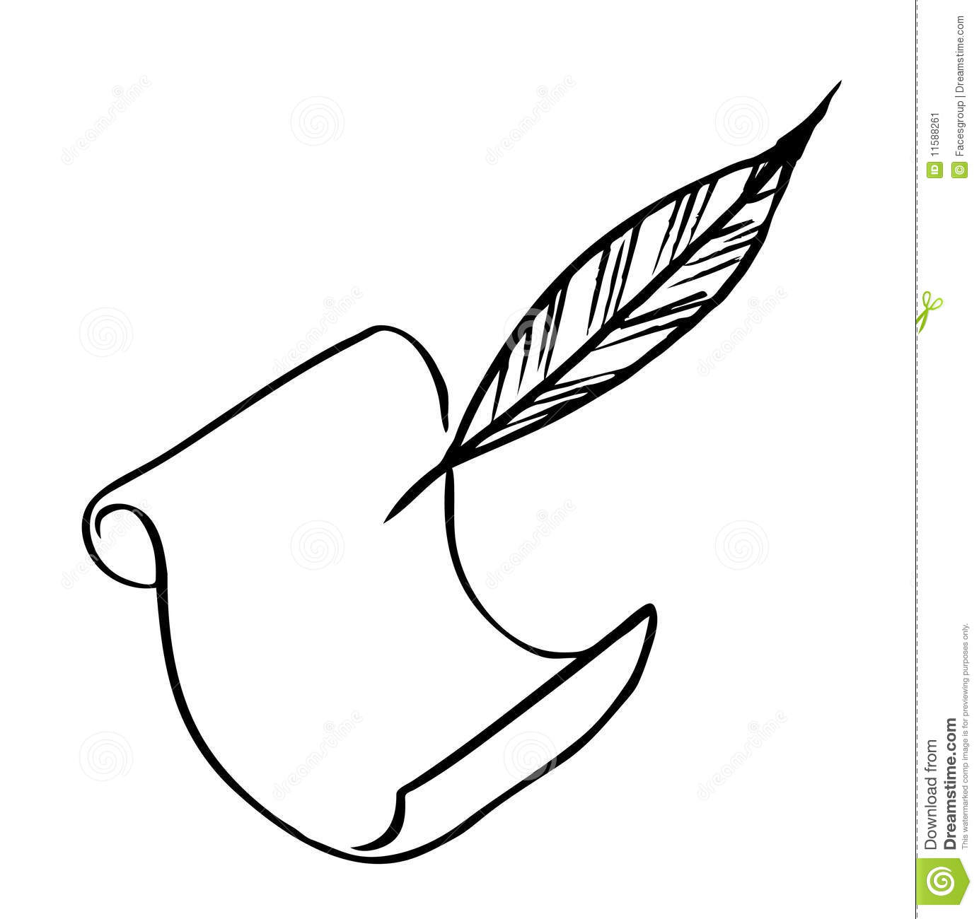 Paper With Feather Vector Stock Vector