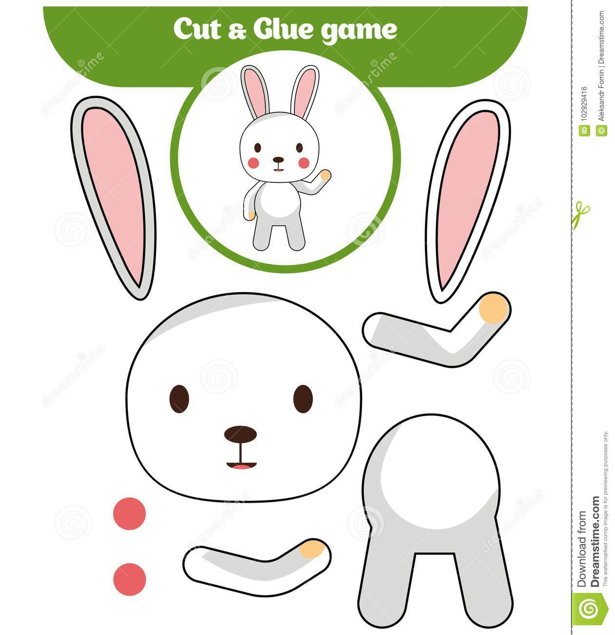 Paper Game For The Development Of Preschool Children Cut Parts Of The Image And Glue On The