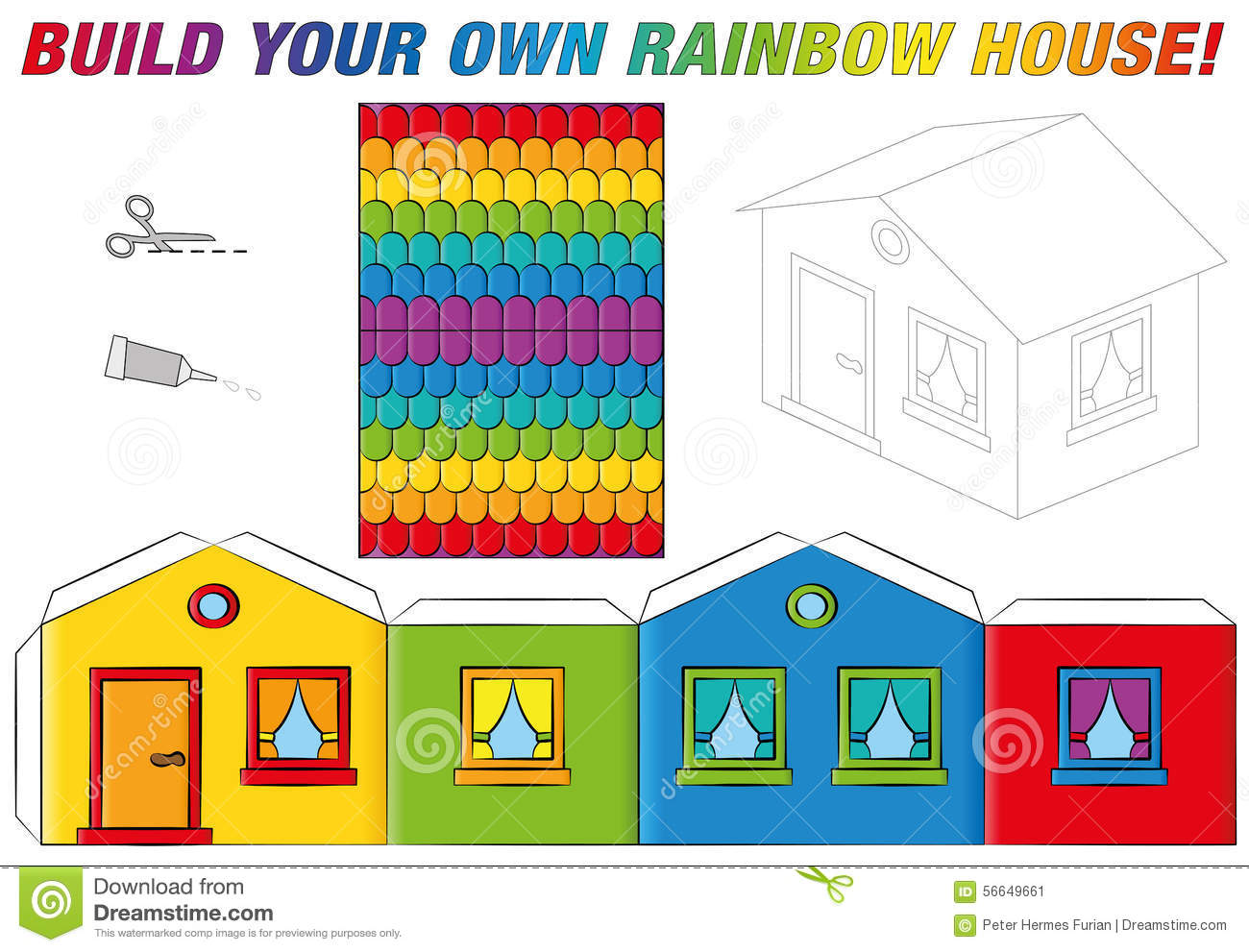 Paper Model House Template Rainbow Colors Stock Vector