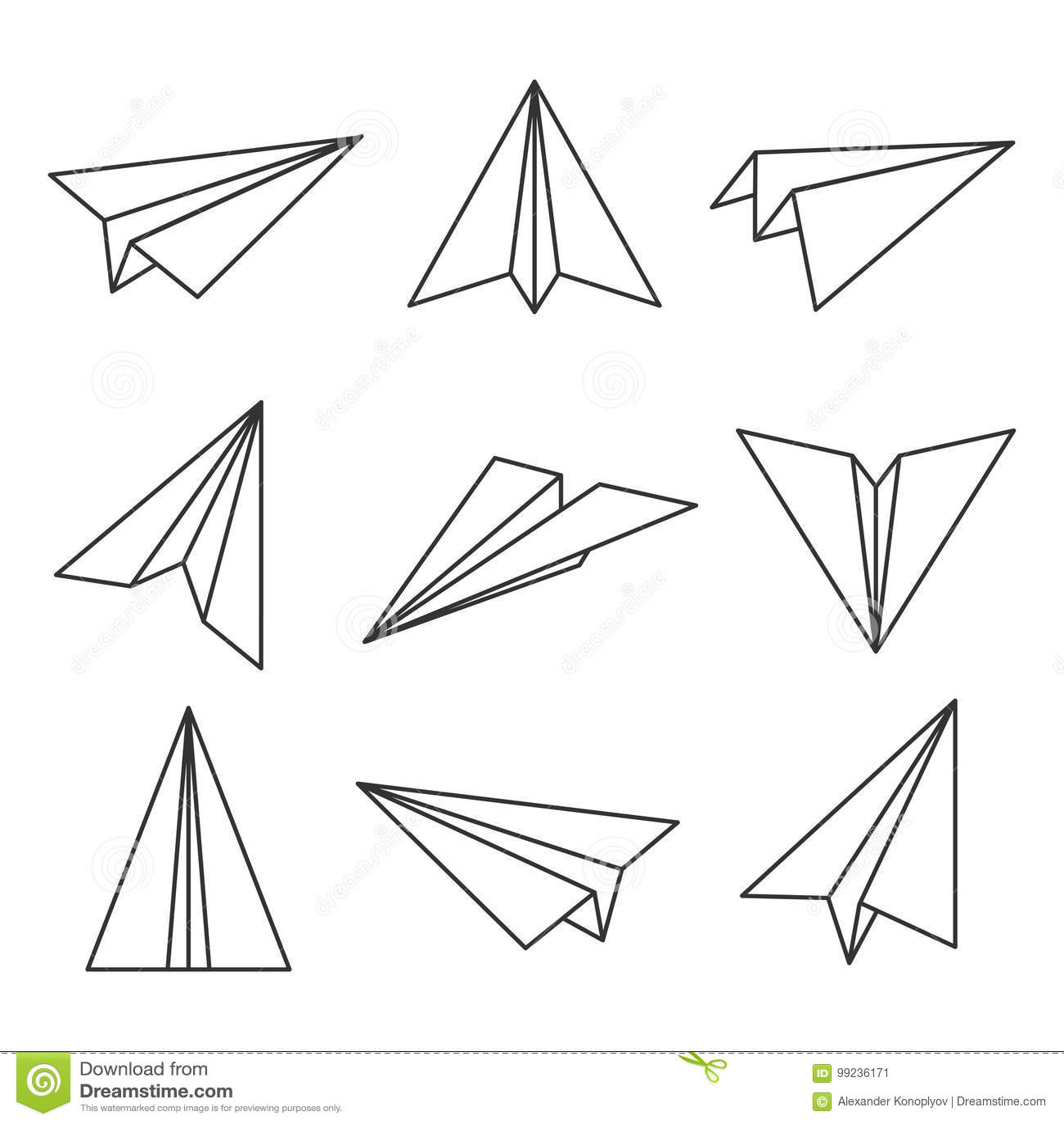 Paper Plane Outline Cartoon Vector