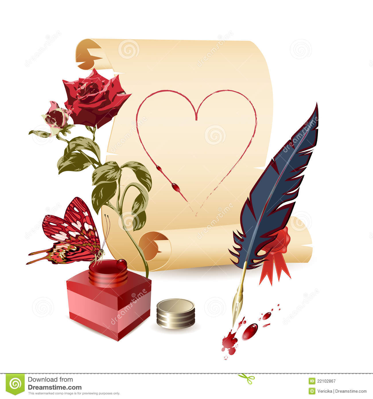 Papyrus Rose Ink Pot And A Feather Royalty Free Stock Photography Image 22102867