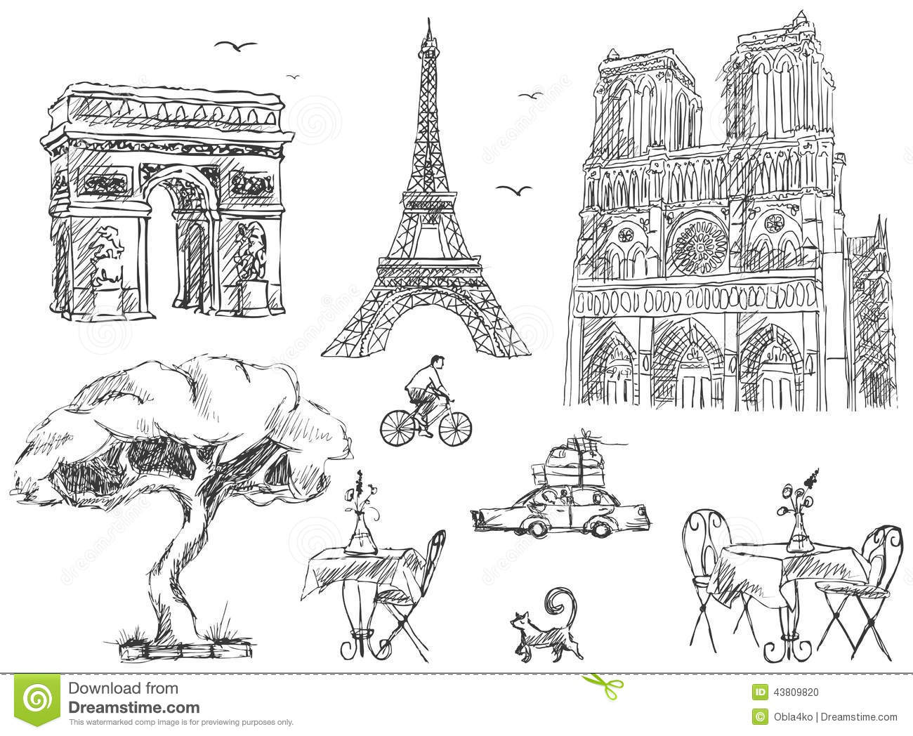 Paris Sketches Collection Stock Vector Image 43809820