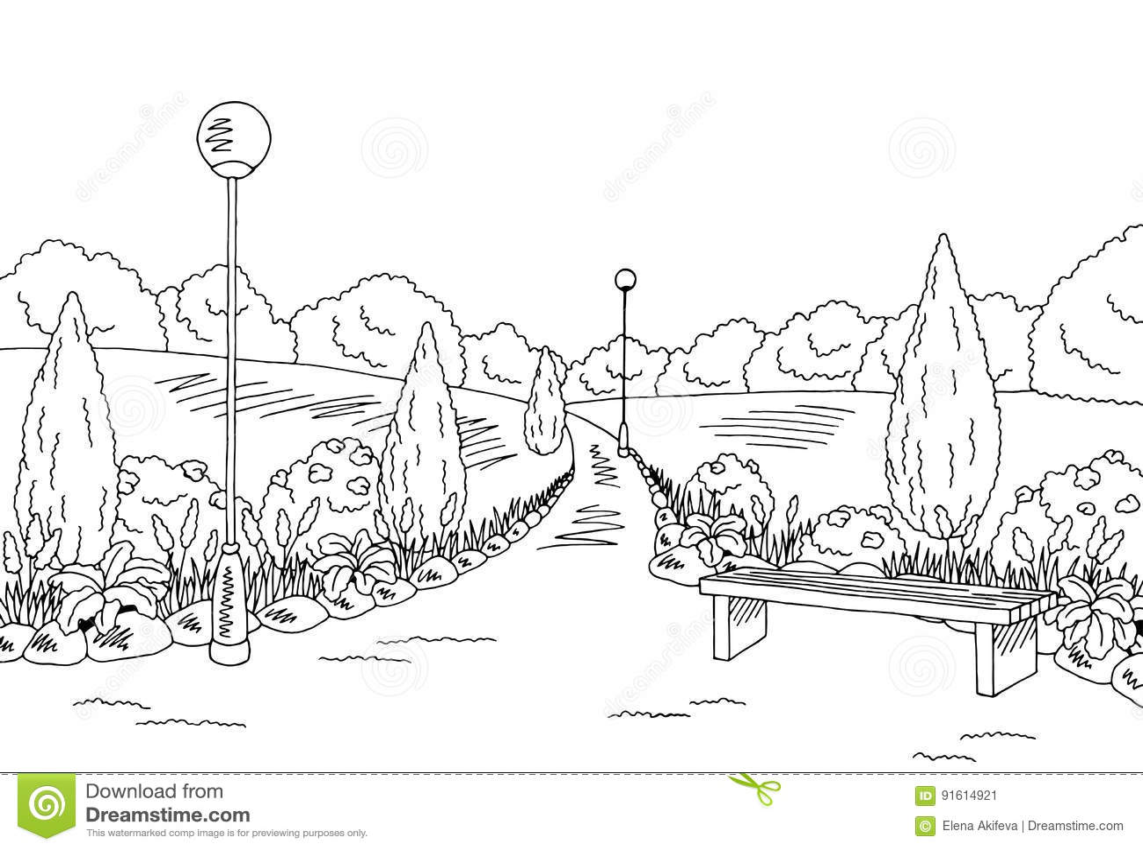 Park Graphic Black White Bench Lamp Landscape Sketch