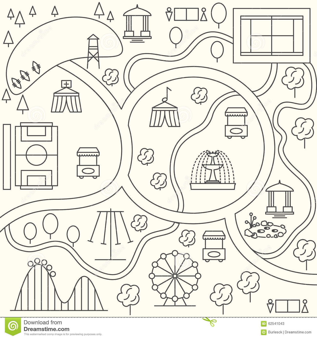 Park Map In Outline Design Style Vector Stock Vector