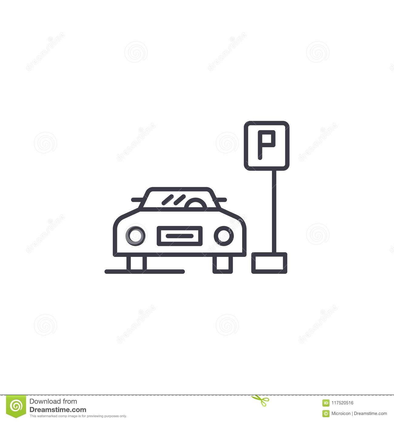 Parking Space Linear Icon Concept Parking Space Line