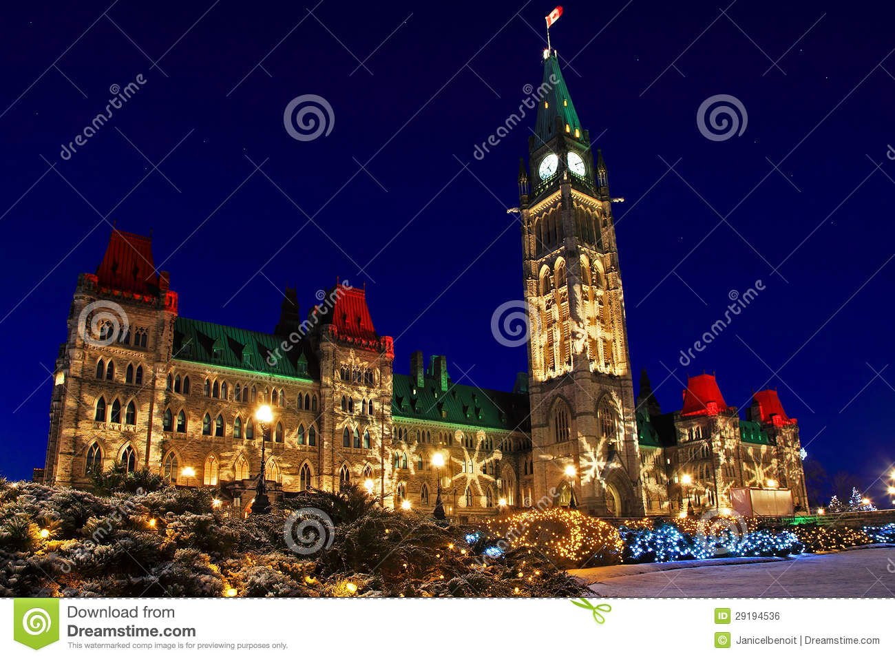 Parliament Buildings In Ottawa Canada At Christmastime