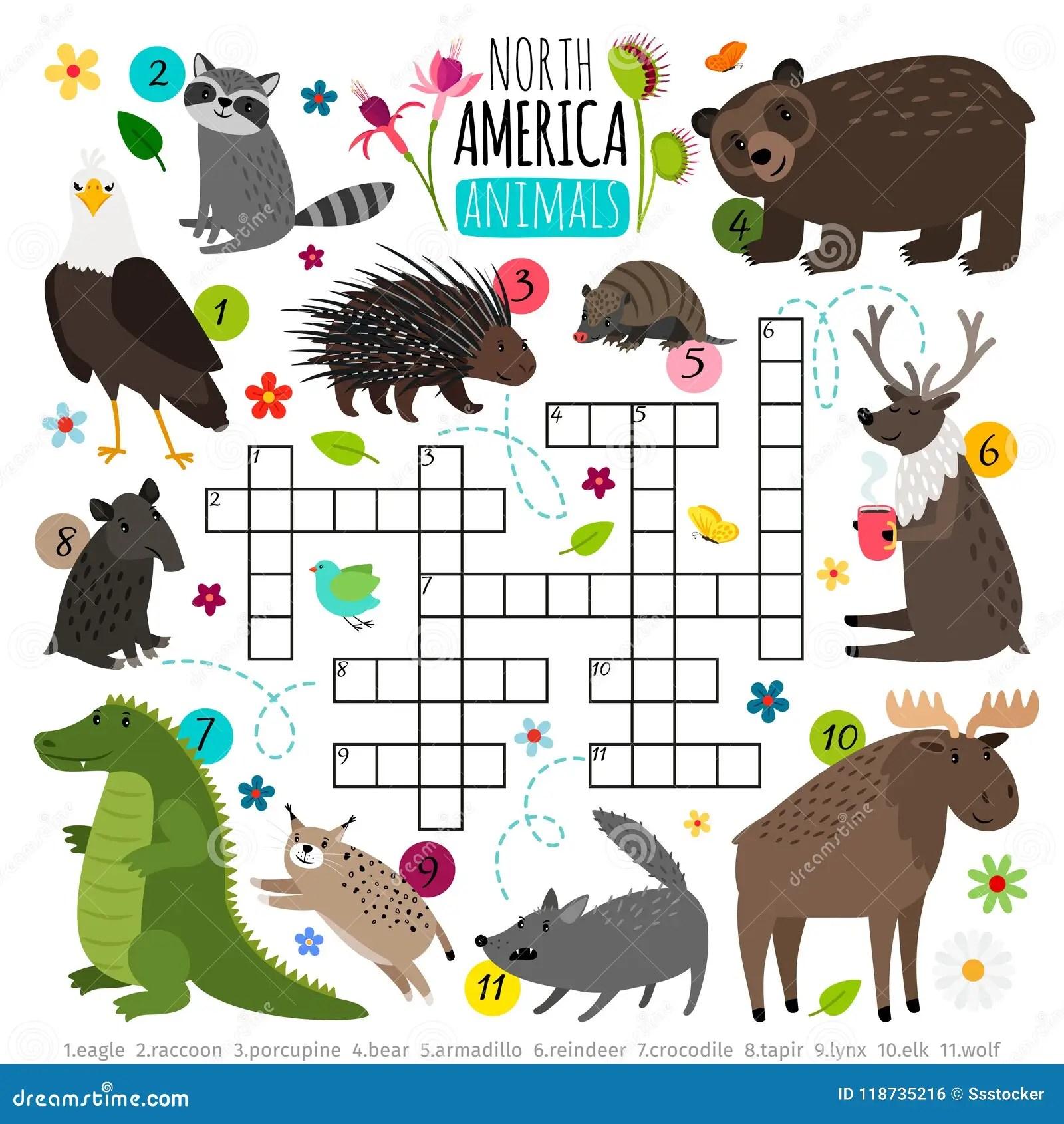Parole Incrociate Degli Animali Puzzle Di Parole Dei