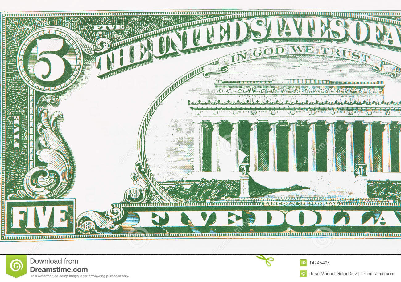 Part Of A Five Dollar Bill Stock Image Image Of Financial