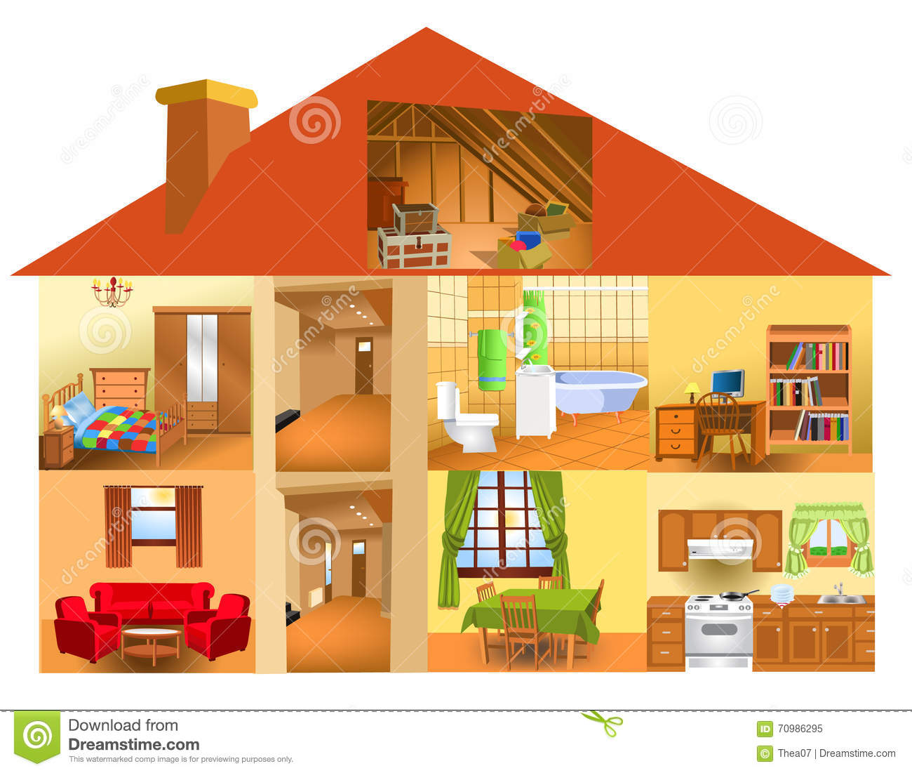 Parts Of The House Stock Vector Illustration Of Friends
