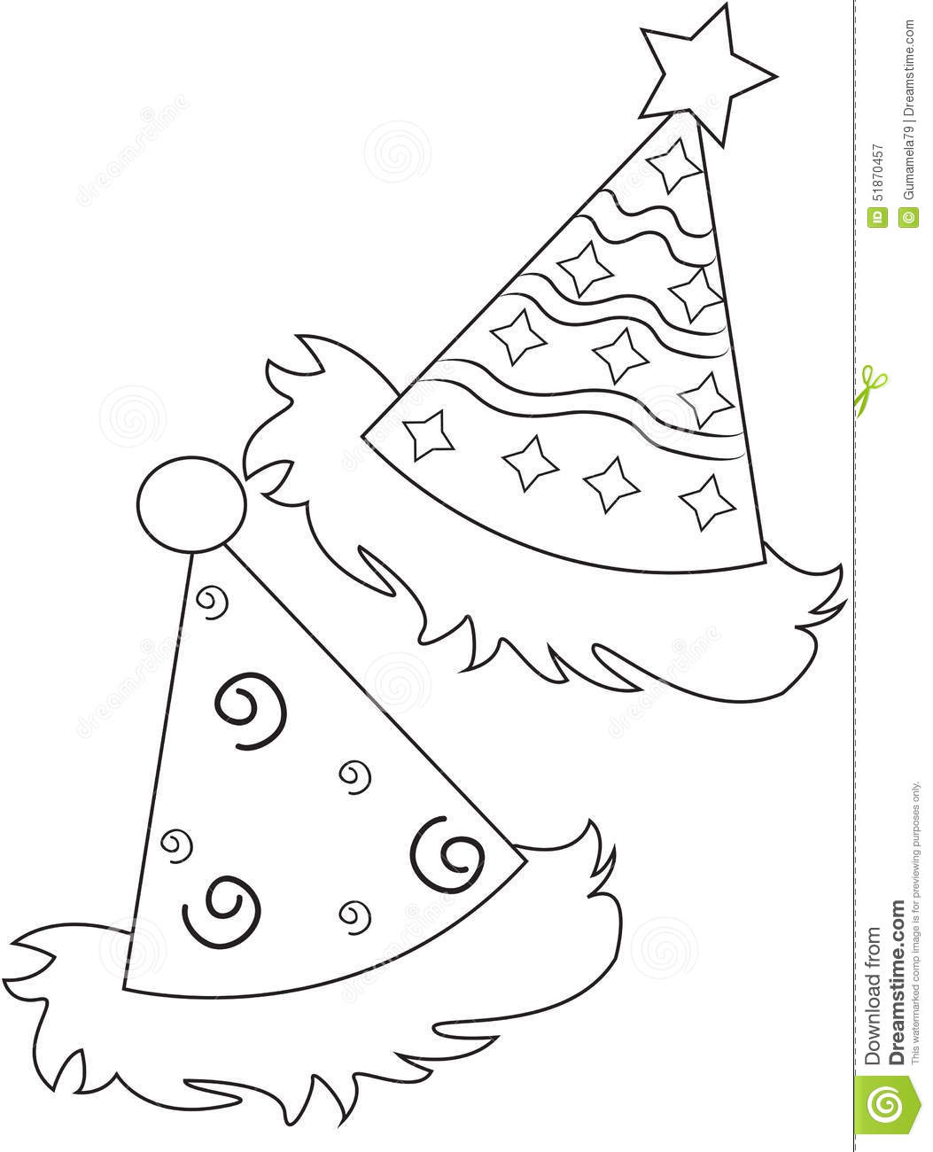 Party Hats Coloring Page Stock Illustration
