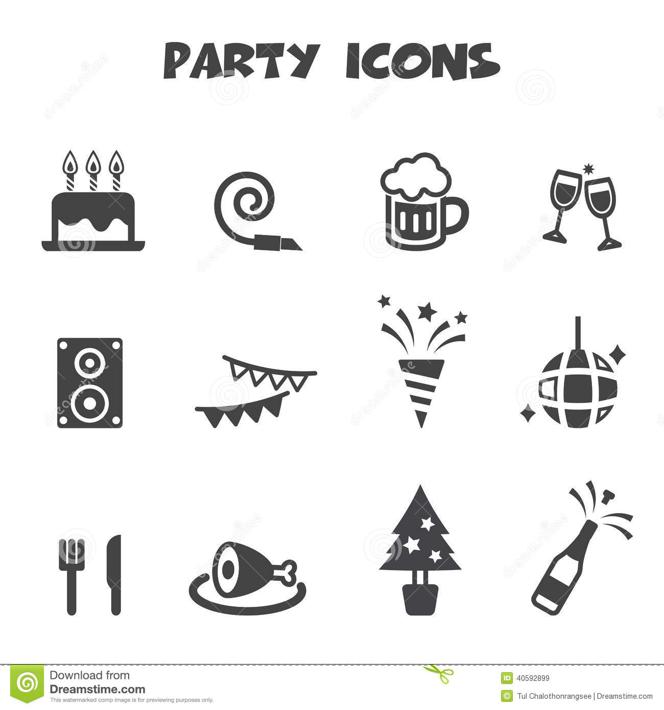 Party Icons Stock Vector Illustration Of Confetti Happy