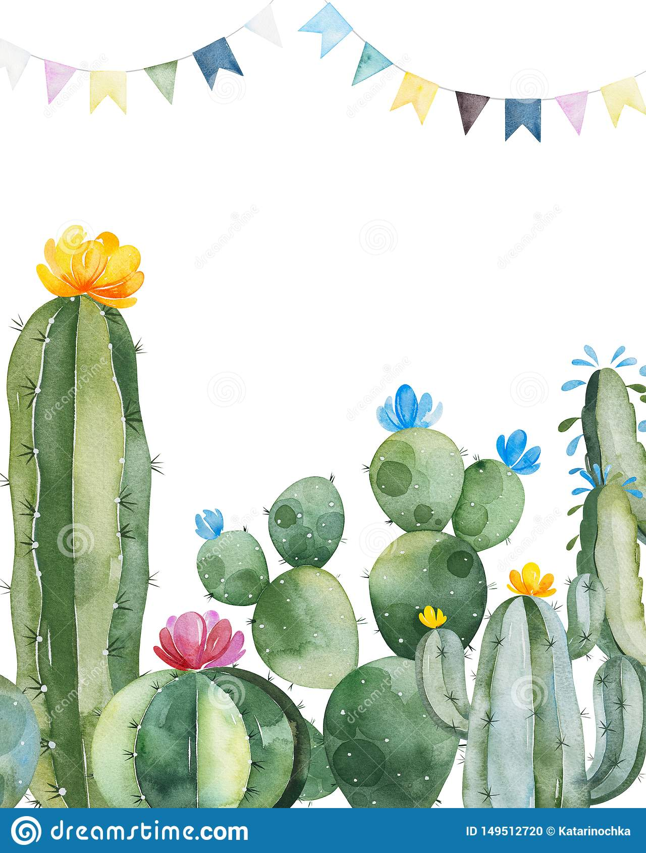 Party Invitation With Green Watercolor Cactus Succulents