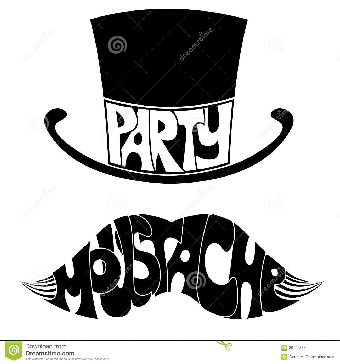 Party Mustache And Hat With Text Royalty Free Stock Photo