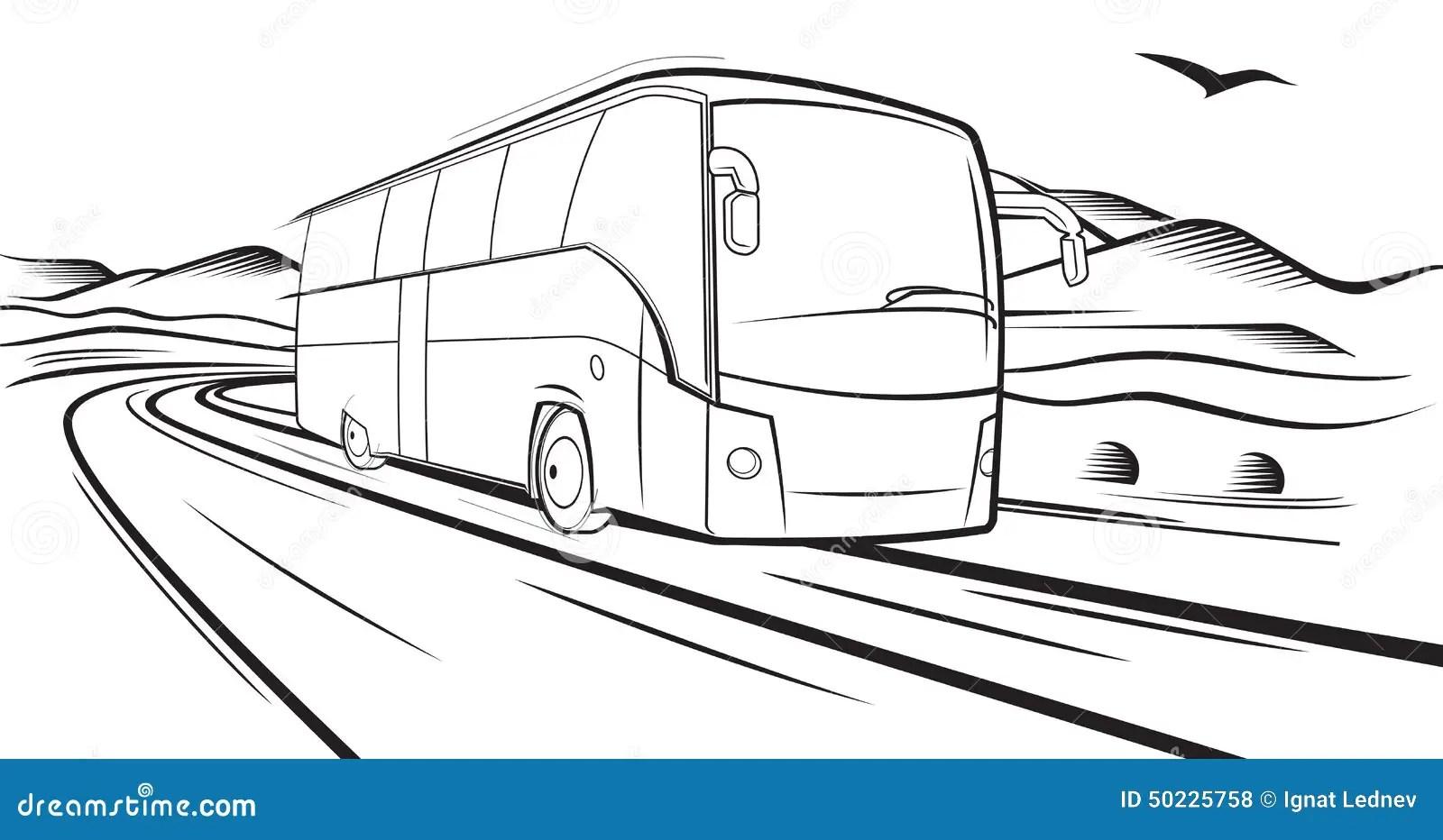 Paseos Del Autobus En El Camino Ilustracion Del Vector