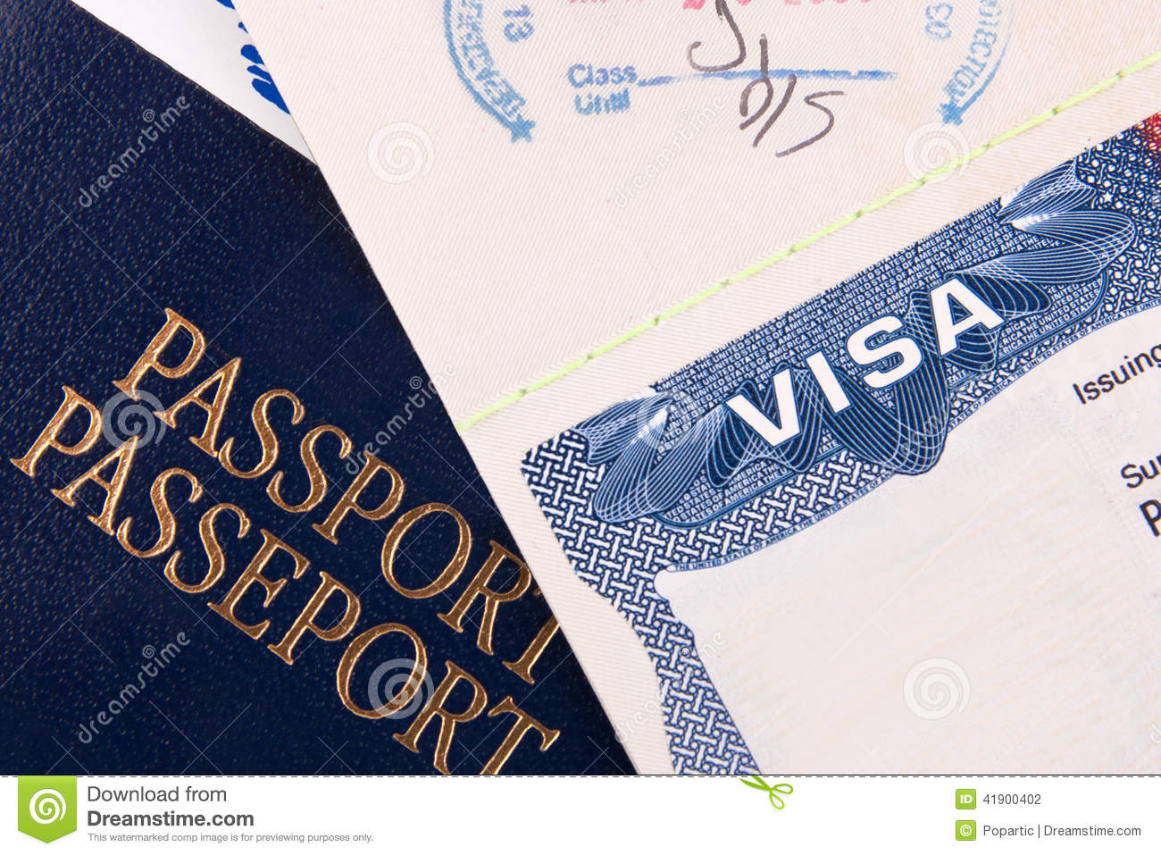 Passport And Us Visa Stock Photo Image Of American