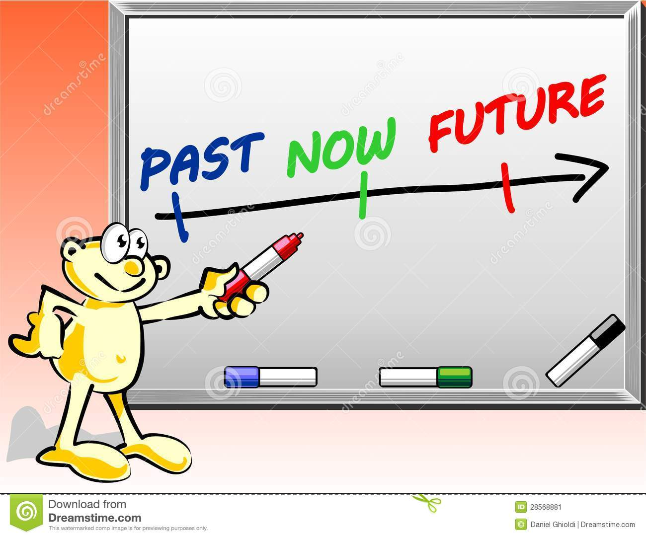 Past Present Future Time Concept On Whiteboard Stock
